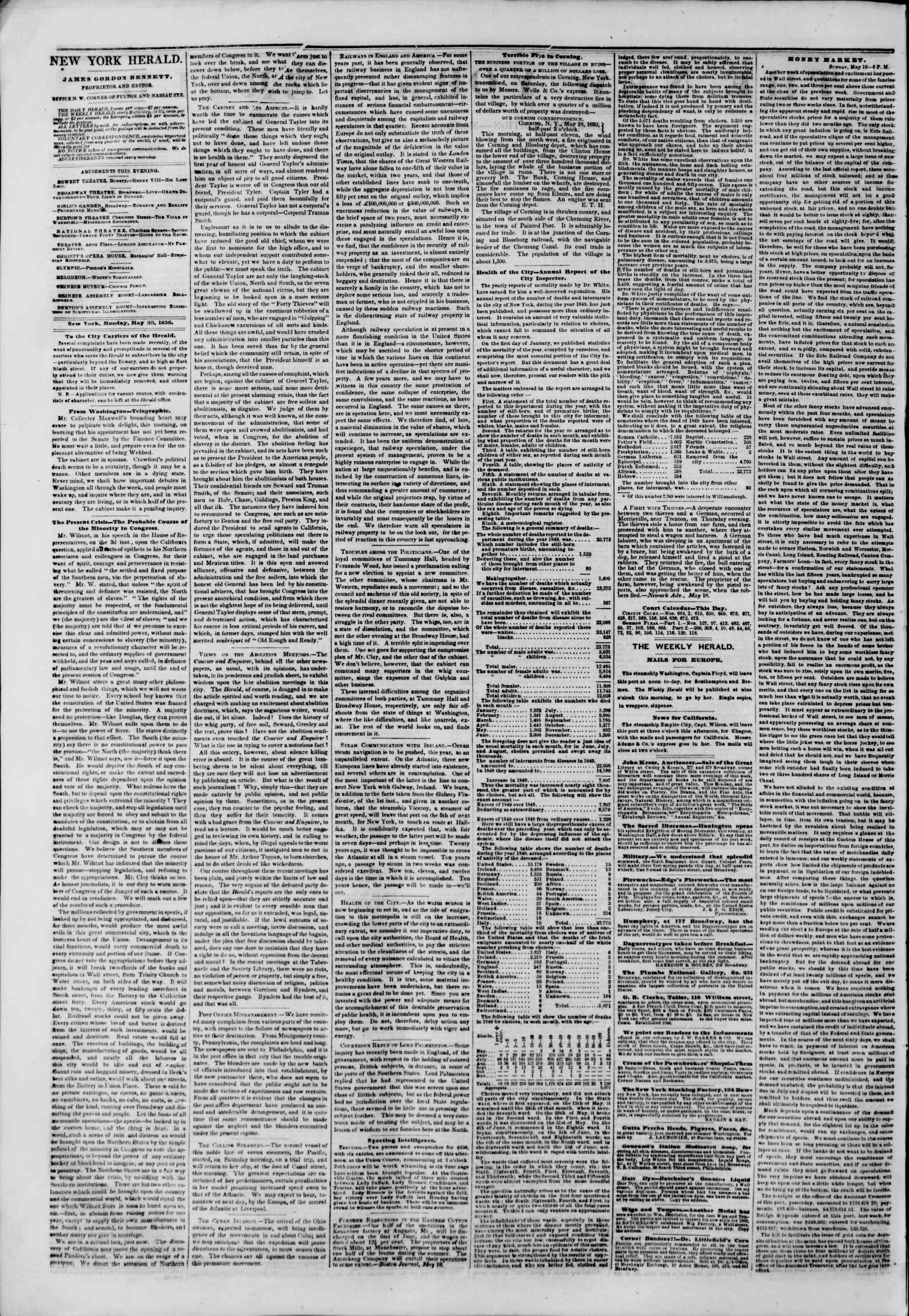 Newspaper of The New York Herald dated May 20, 1850 Page 2