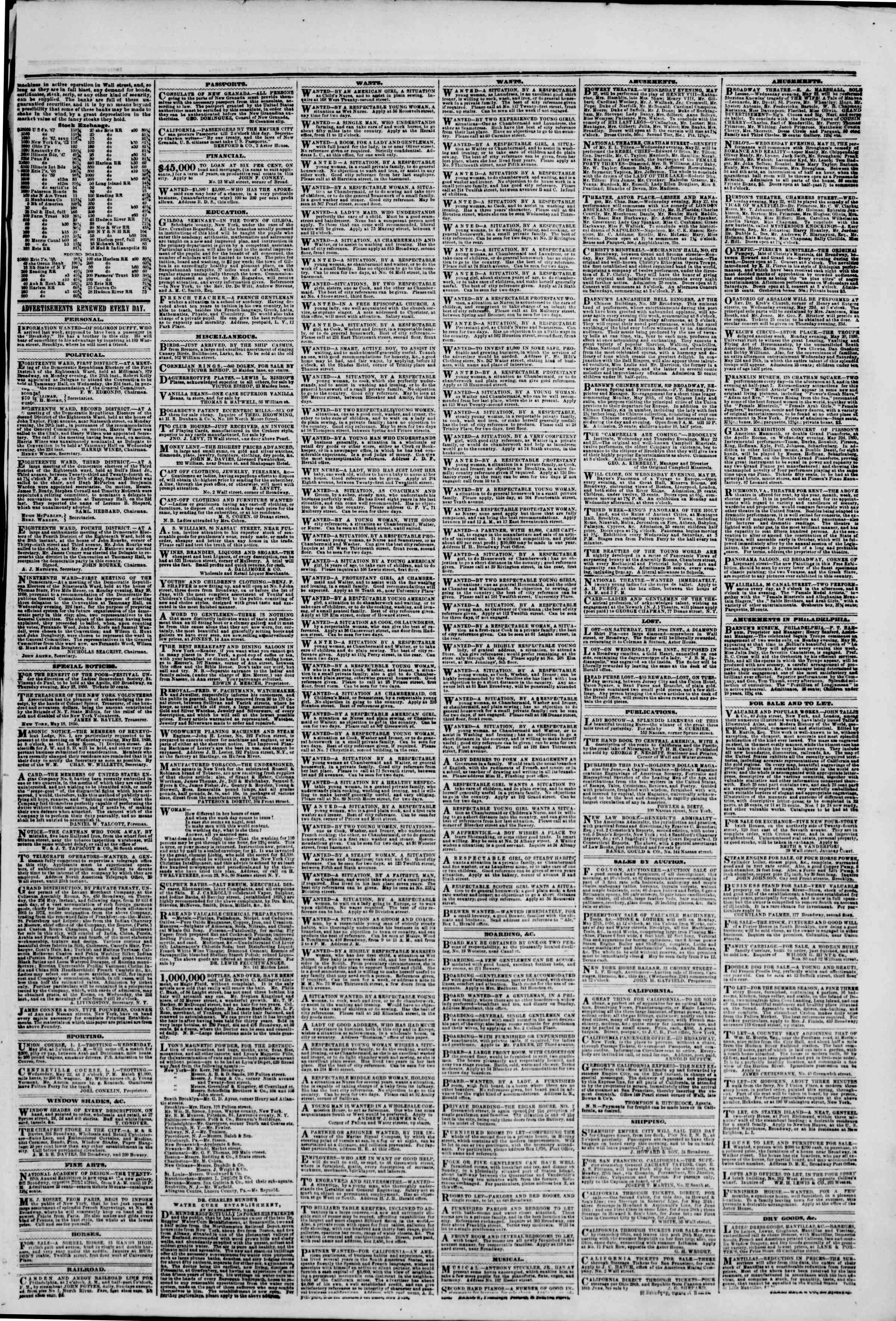 Newspaper of The New York Herald dated May 22, 1850 Page 3