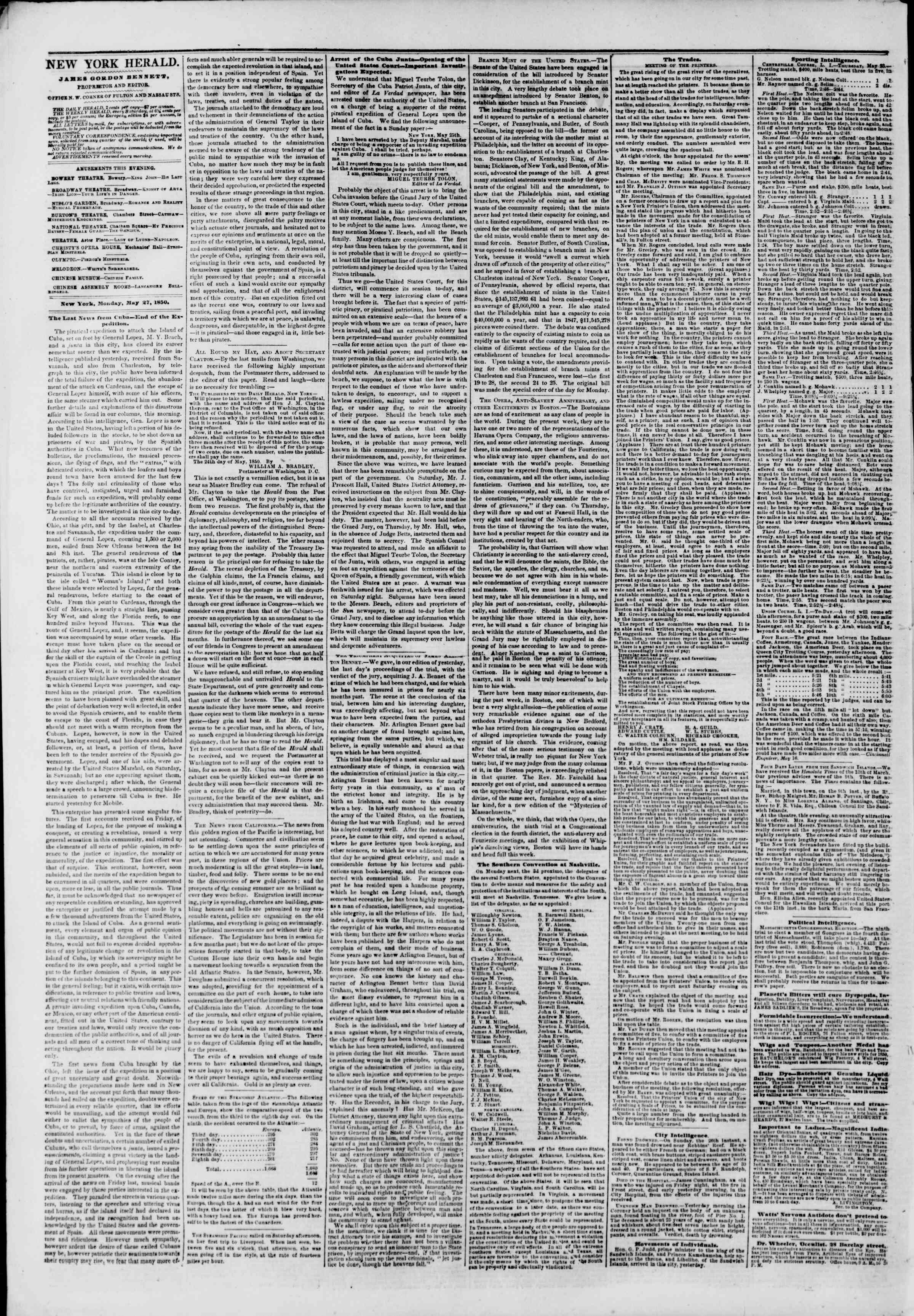Newspaper of The New York Herald dated May 27, 1850 Page 2