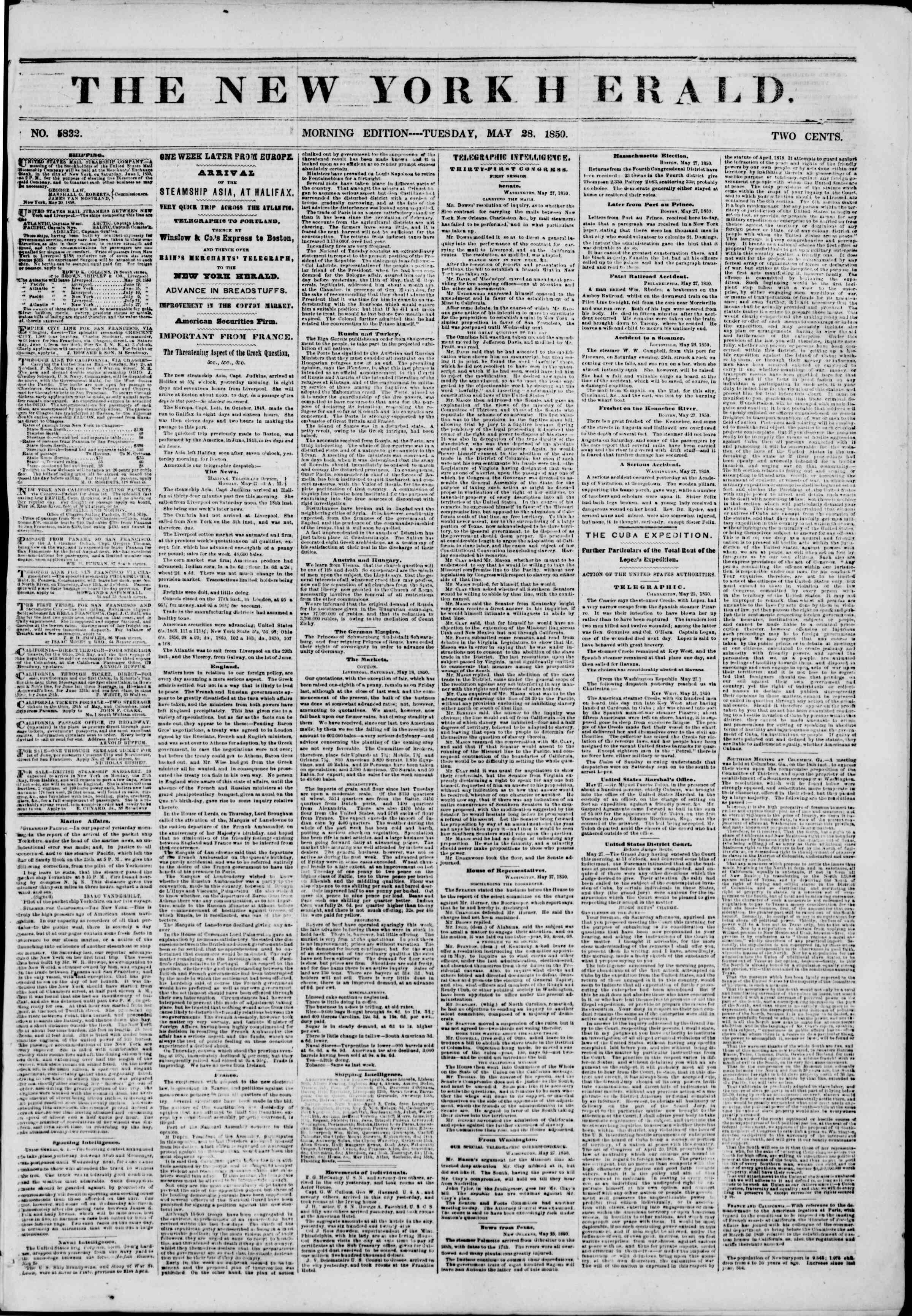 Newspaper of The New York Herald dated May 28, 1850 Page 1