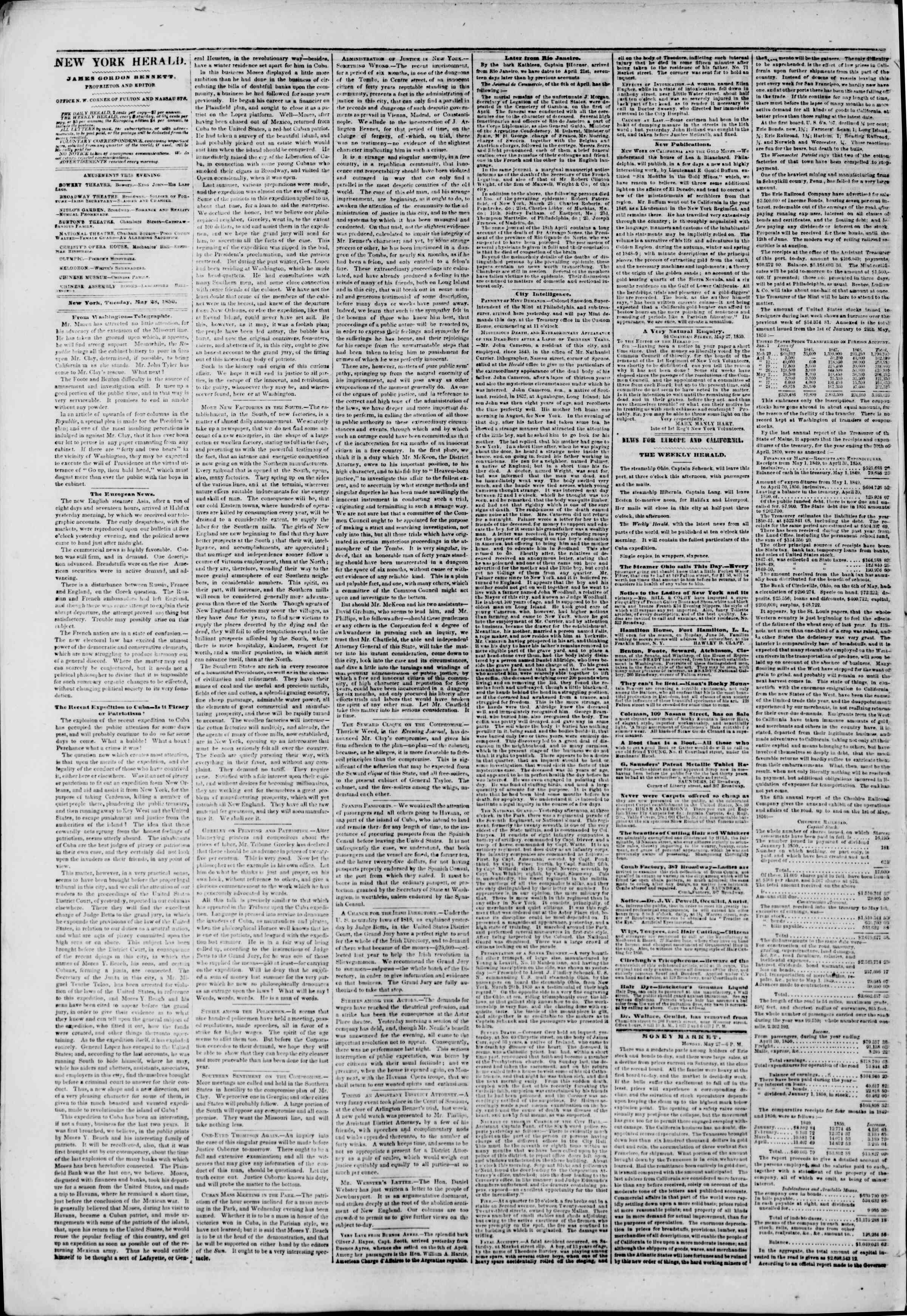 Newspaper of The New York Herald dated May 28, 1850 Page 2
