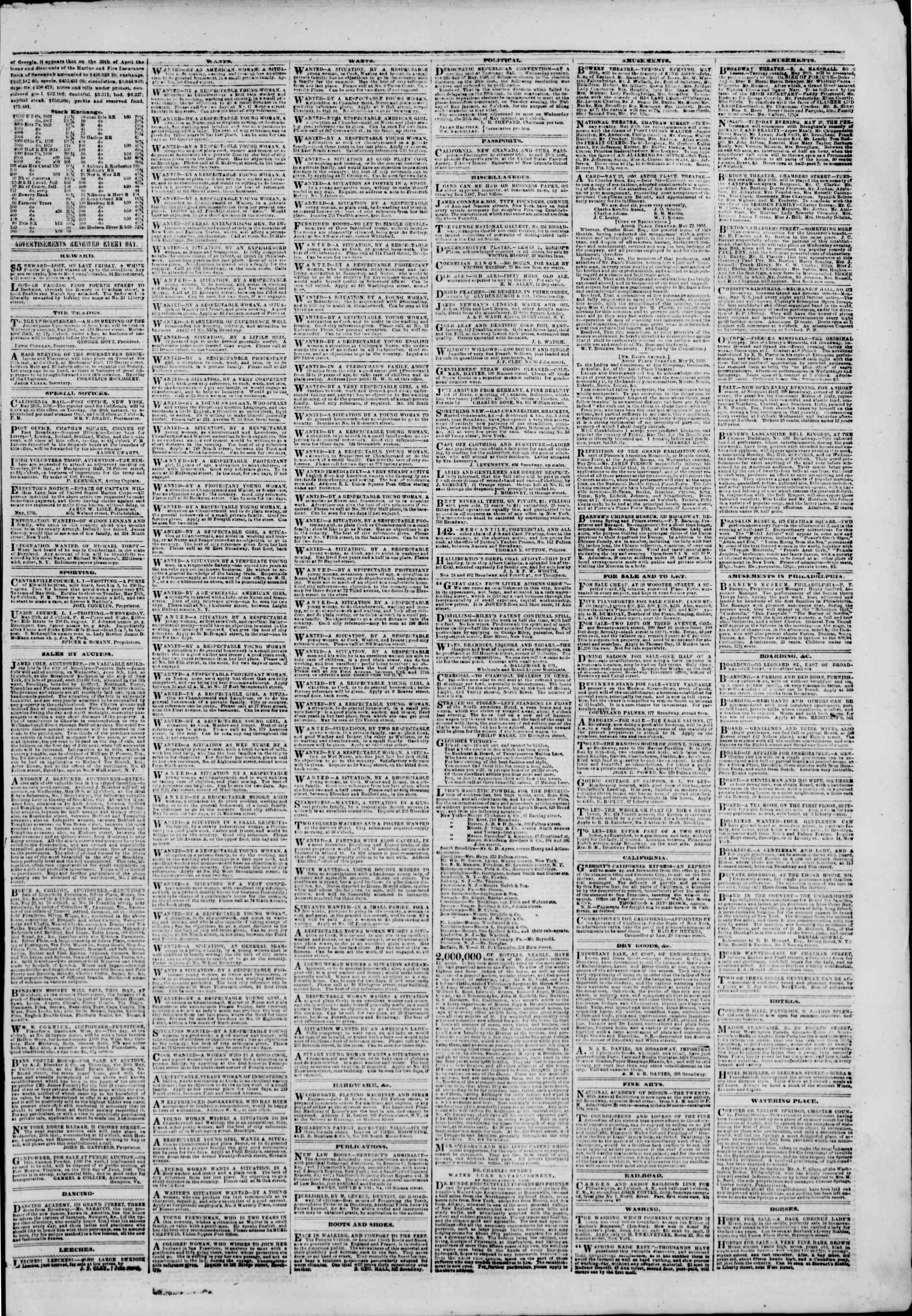 Newspaper of The New York Herald dated May 28, 1850 Page 3