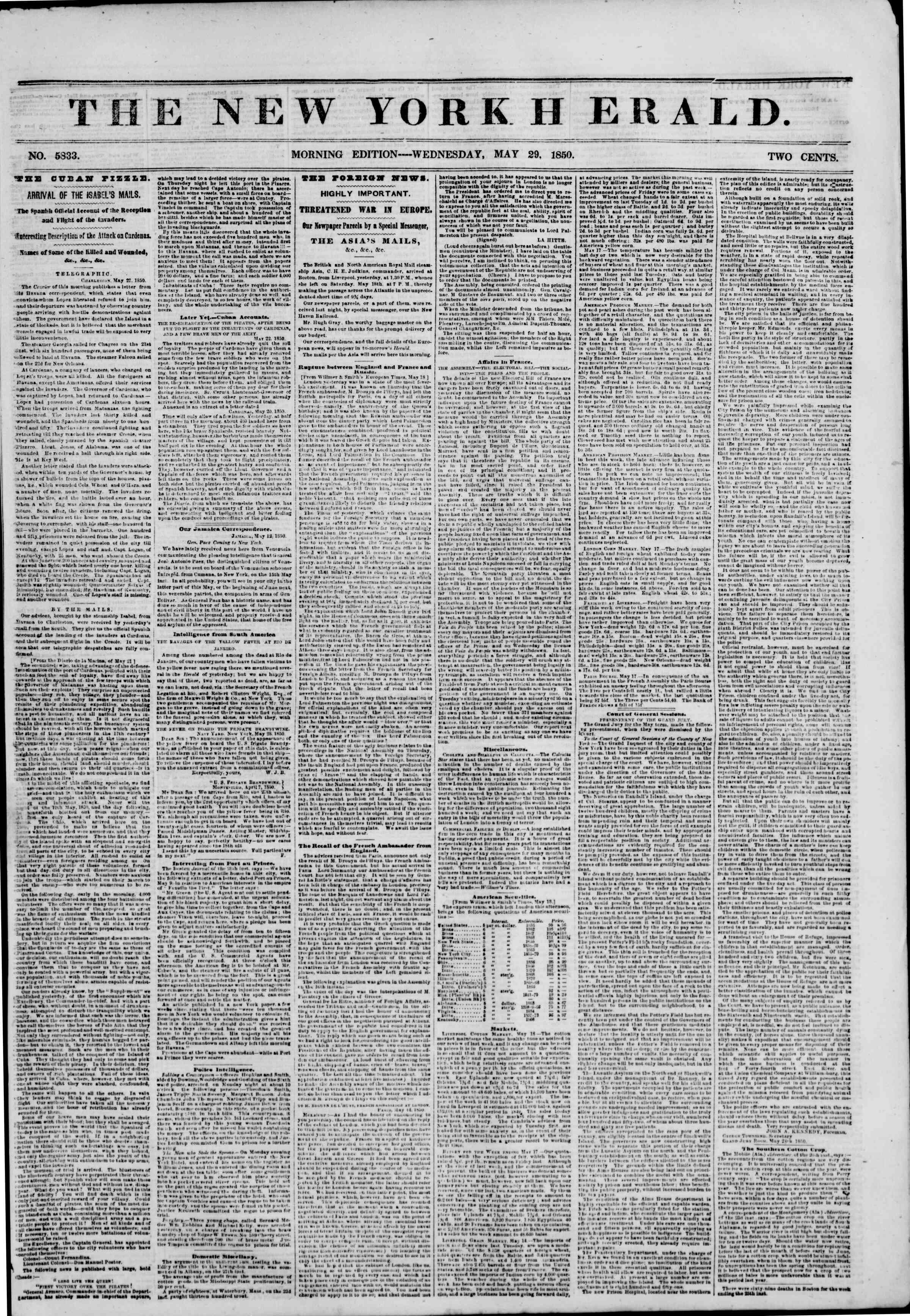 Newspaper of The New York Herald dated May 29, 1850 Page 1