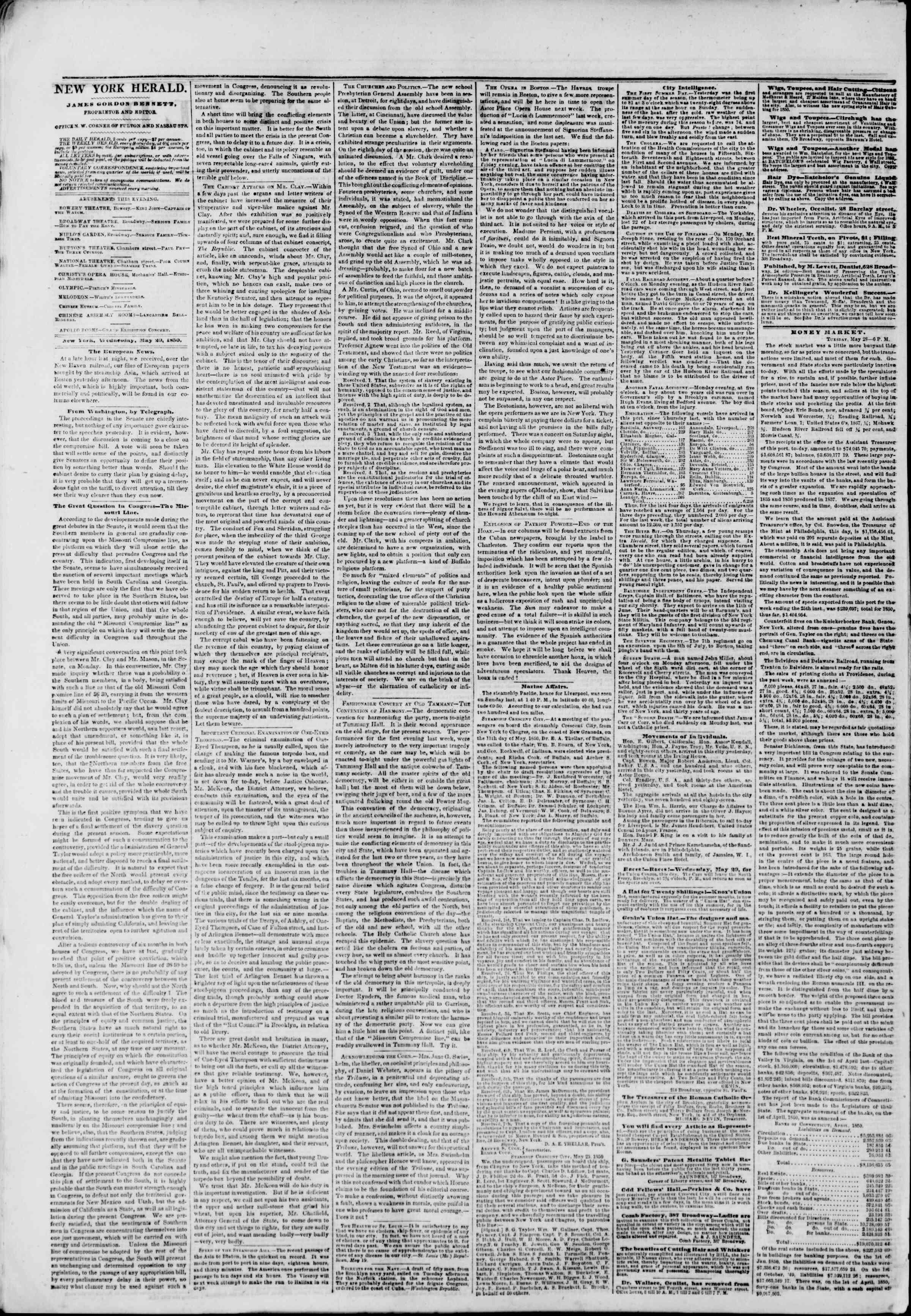 Newspaper of The New York Herald dated May 29, 1850 Page 2