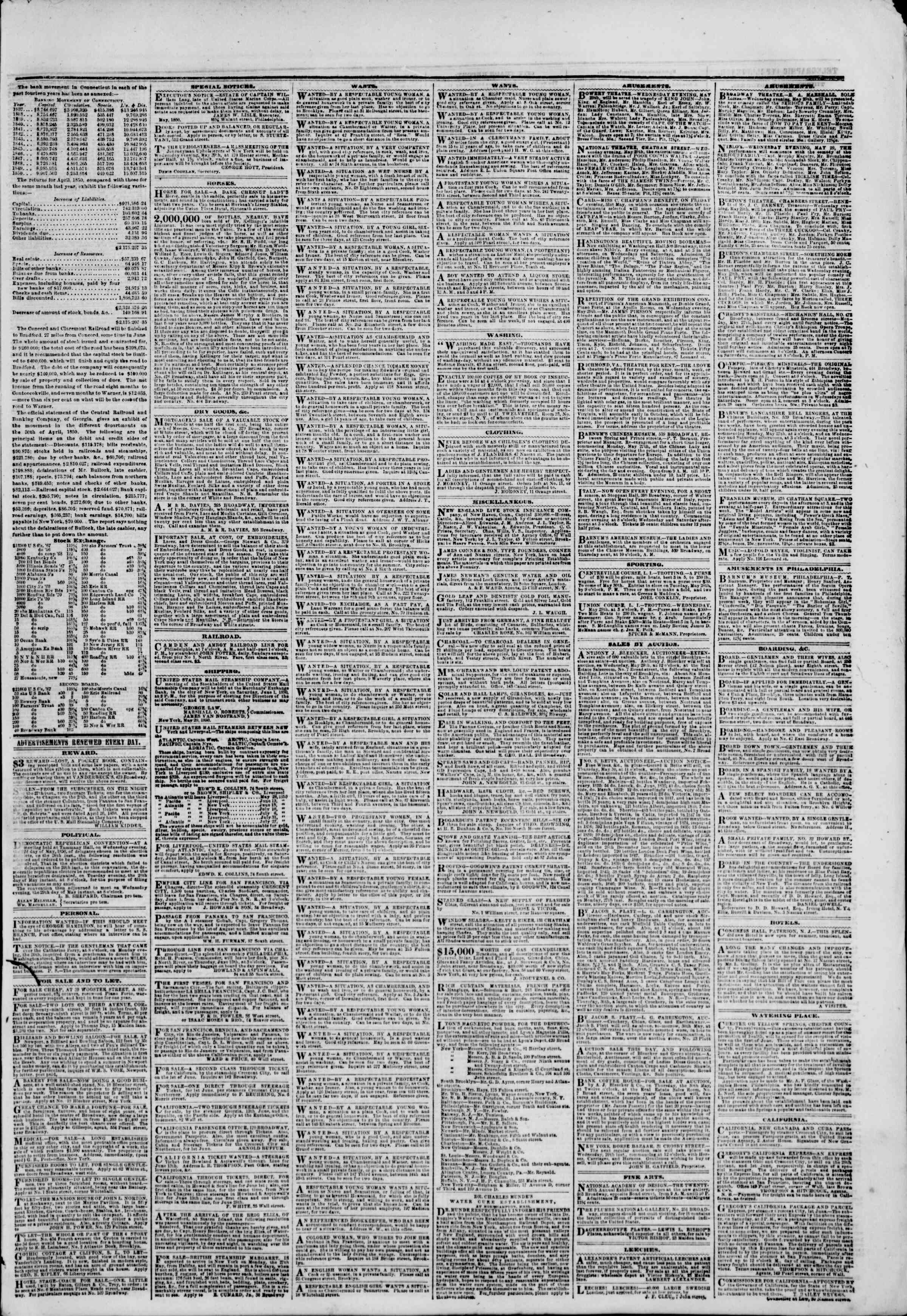 Newspaper of The New York Herald dated May 29, 1850 Page 3