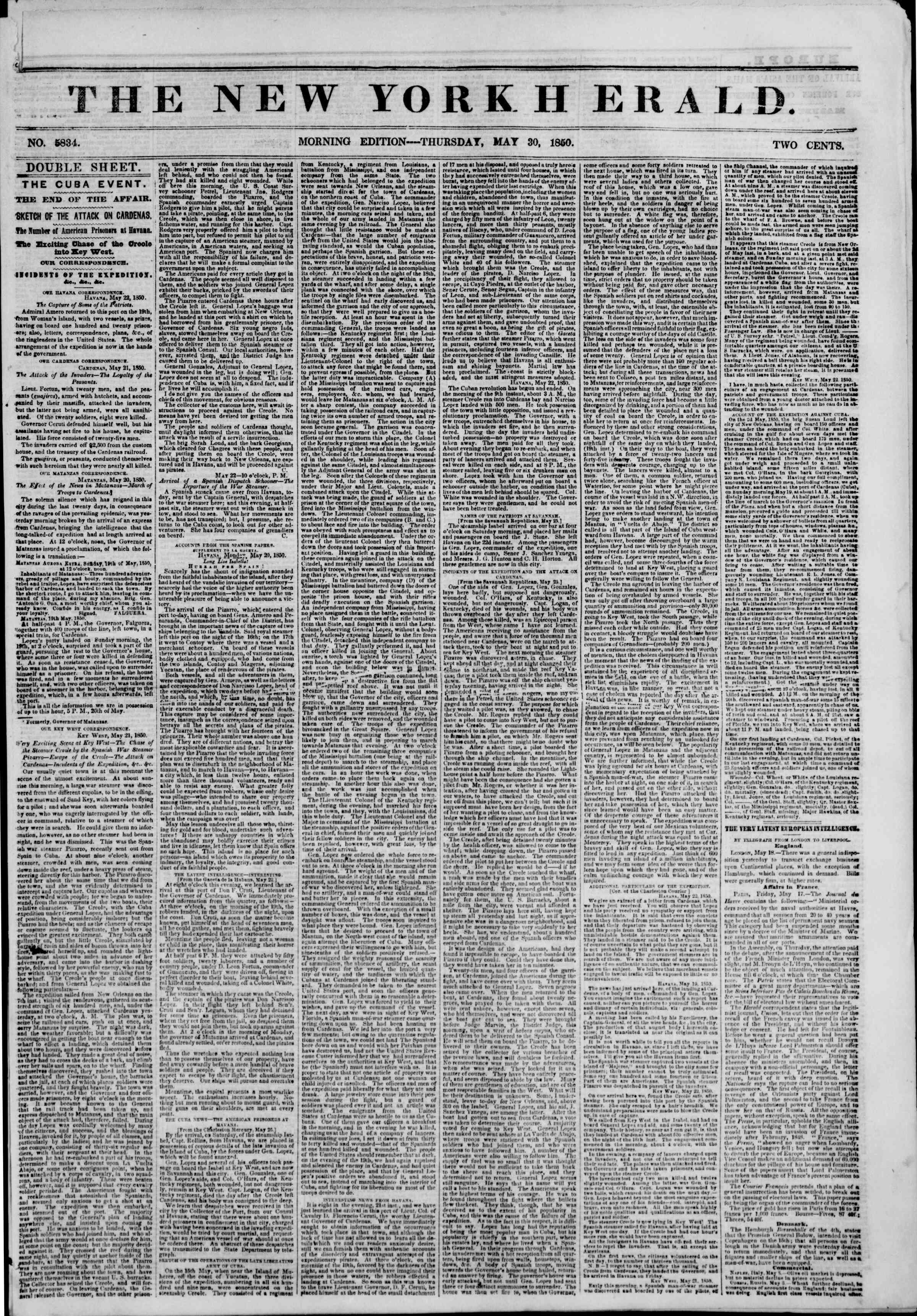 Newspaper of The New York Herald dated May 30, 1850 Page 1