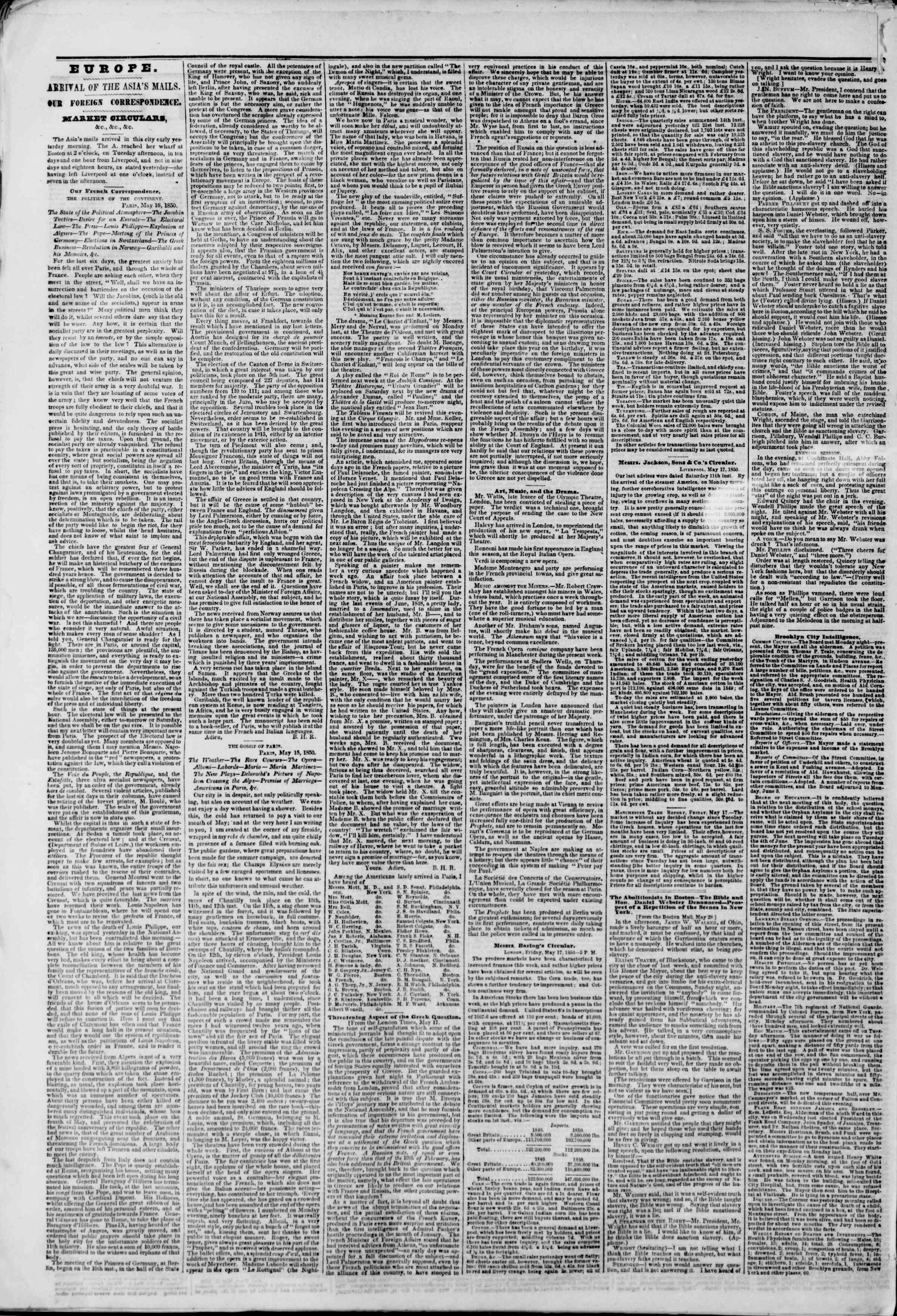 Newspaper of The New York Herald dated May 30, 1850 Page 2