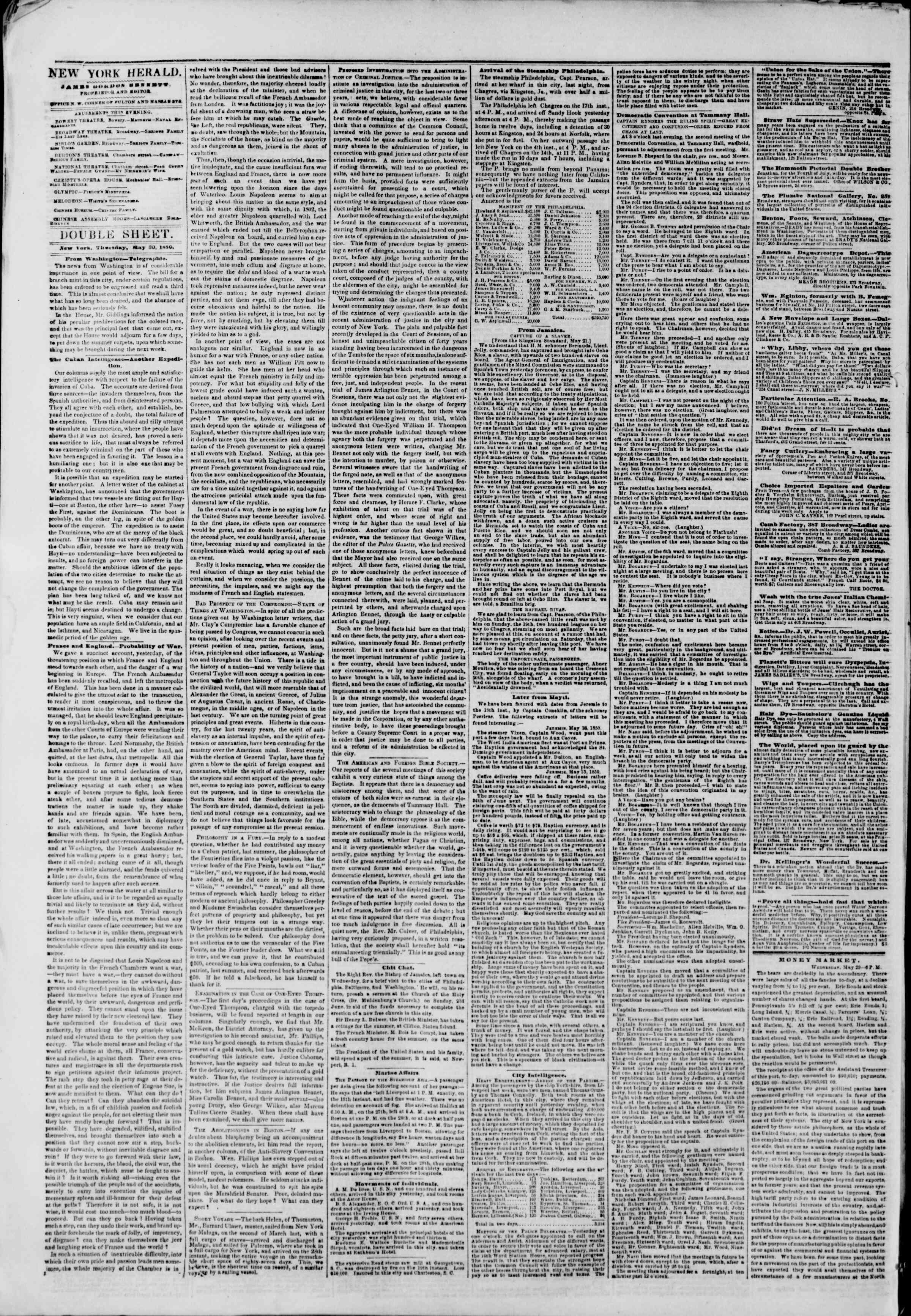 Newspaper of The New York Herald dated May 30, 1850 Page 4