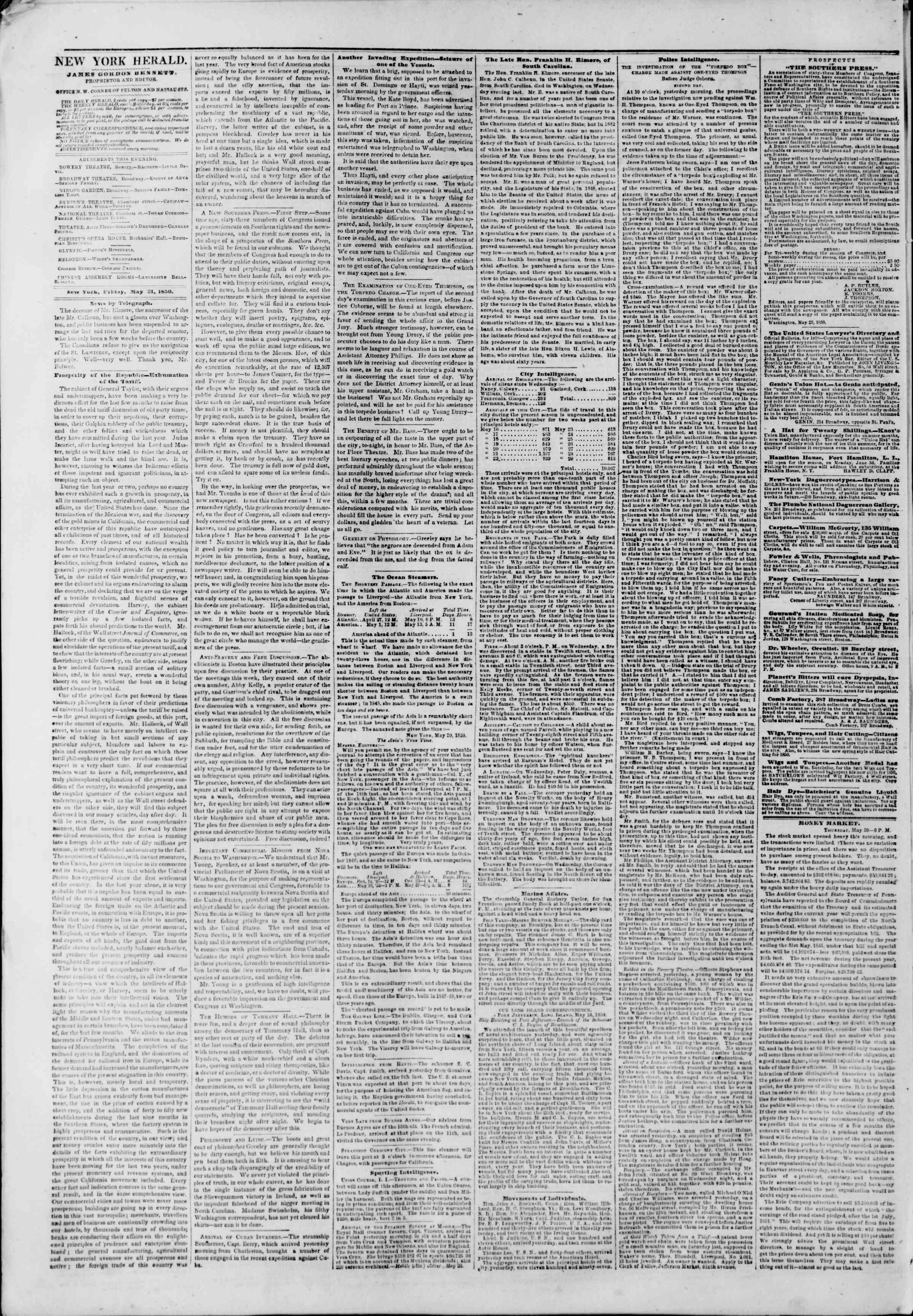 Newspaper of The New York Herald dated May 31, 1850 Page 2