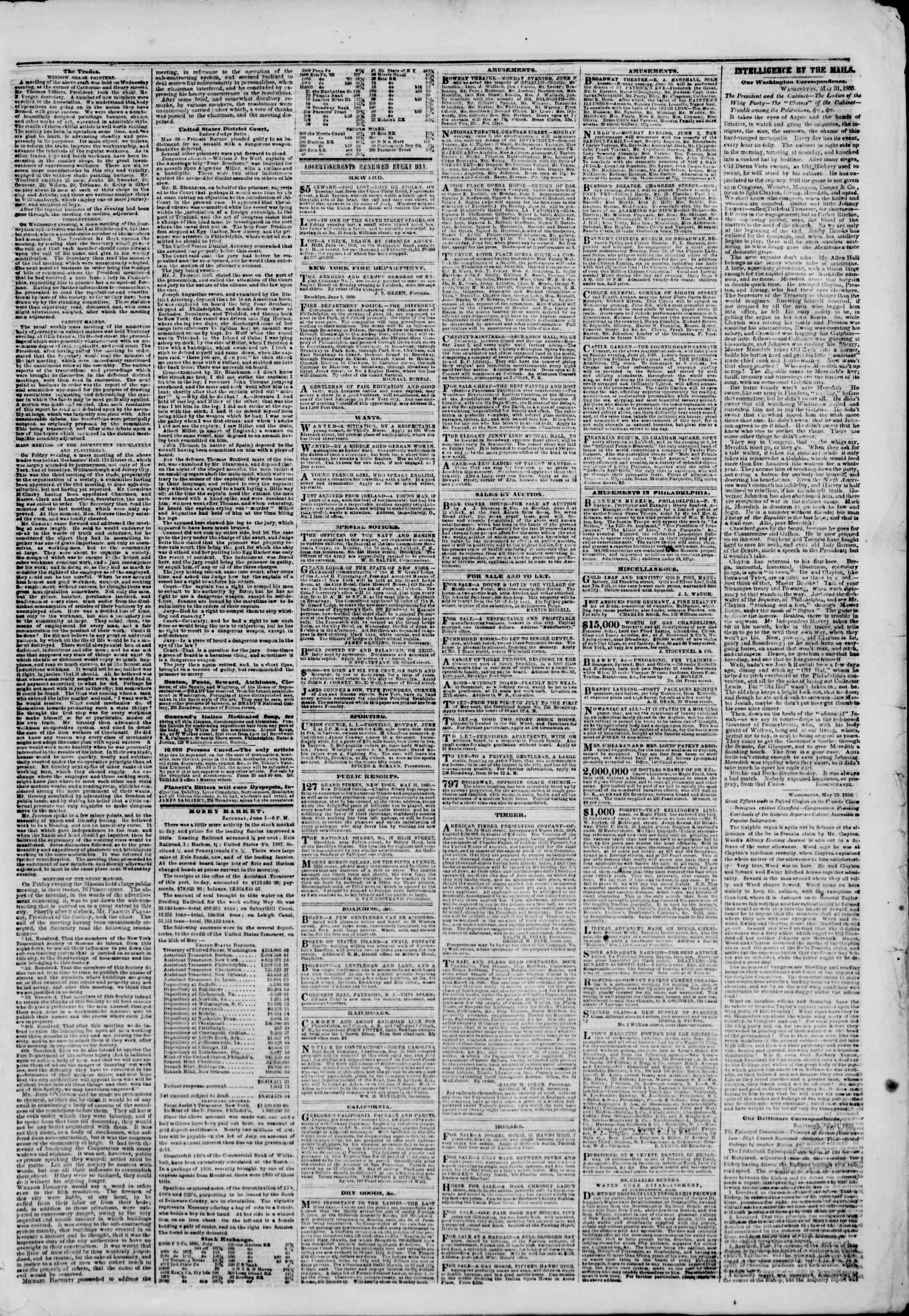 Newspaper of The New York Herald dated June 2, 1850 Page 3