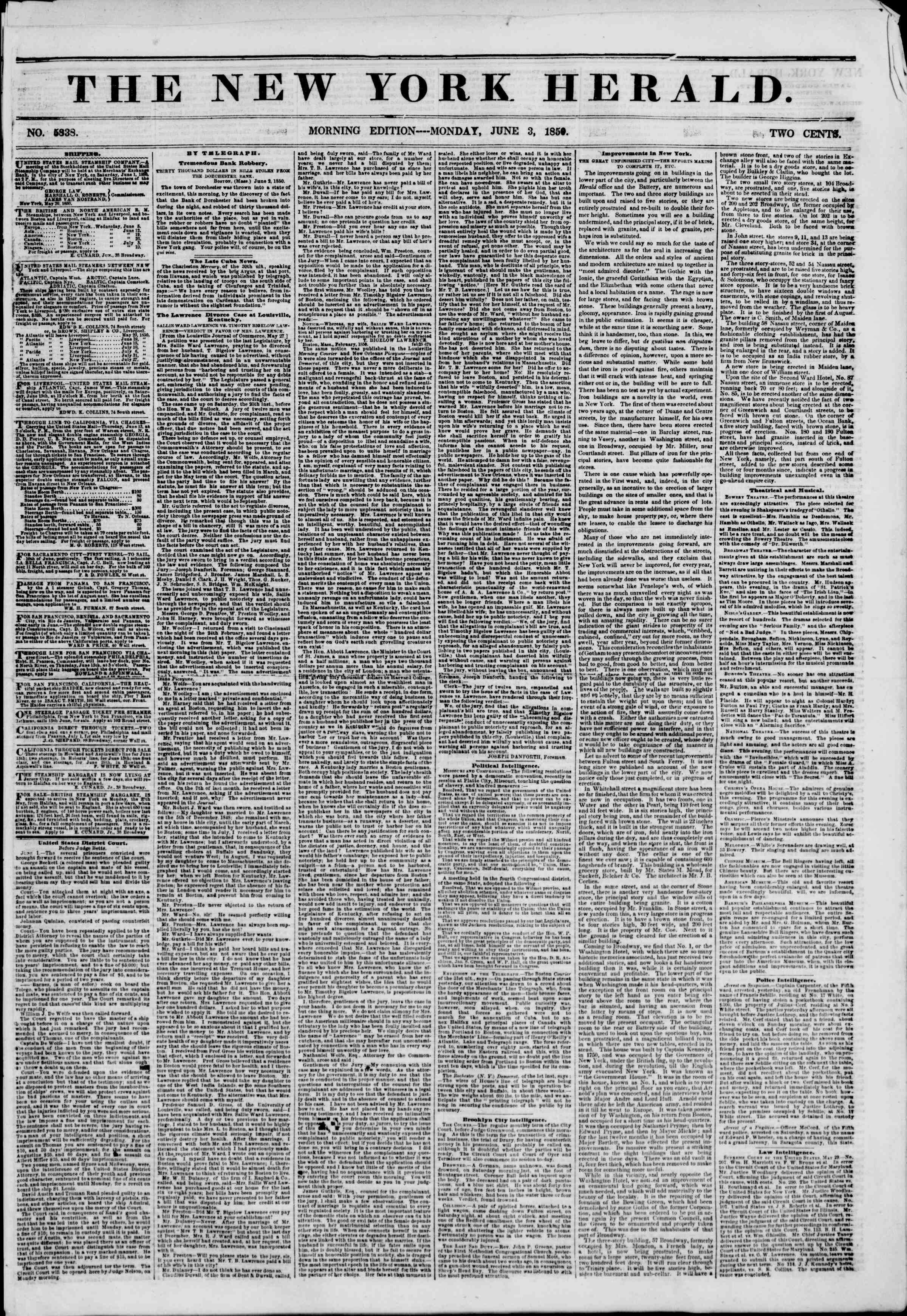 Newspaper of The New York Herald dated June 3, 1850 Page 1