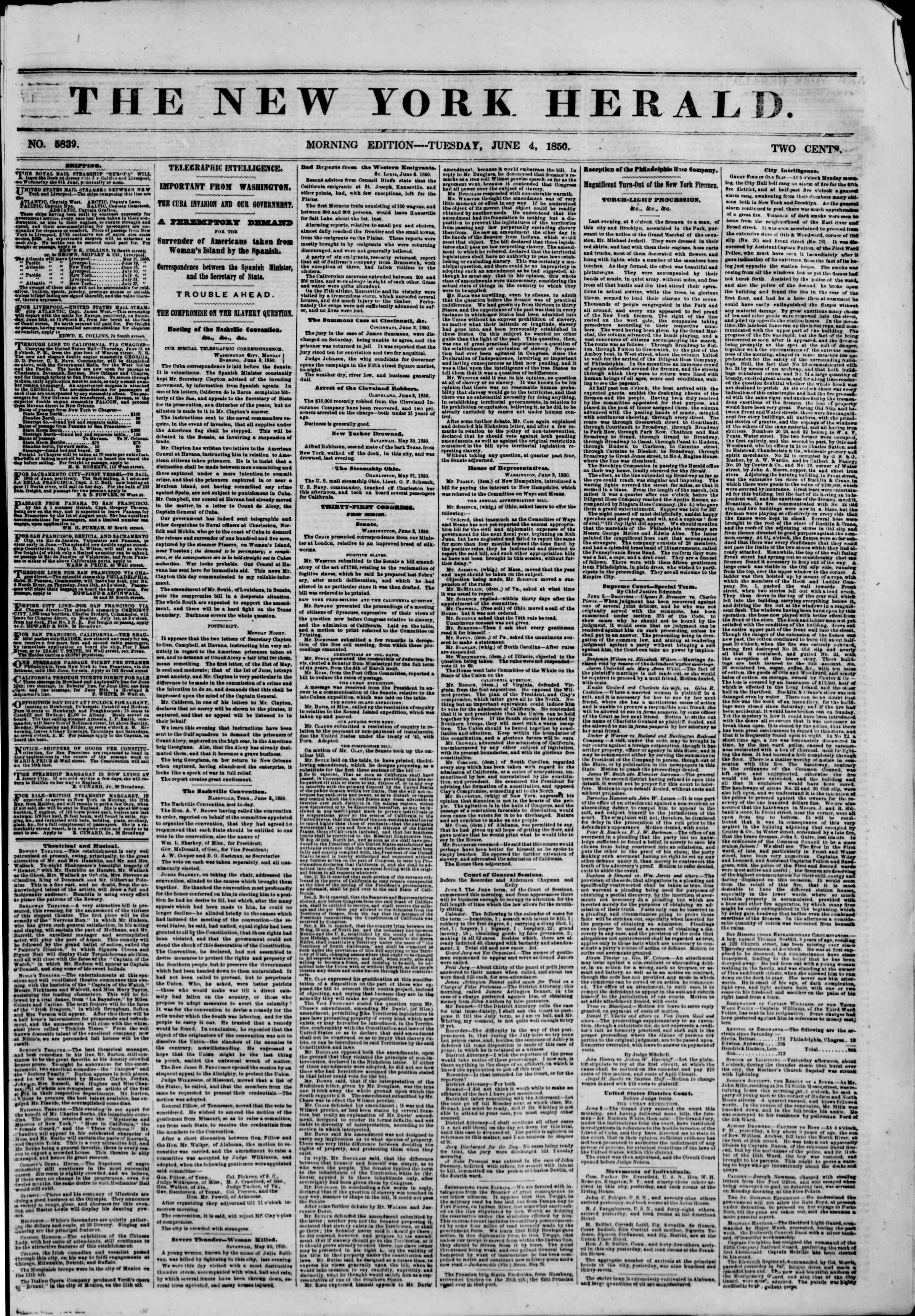 Newspaper of The New York Herald dated June 4, 1850 Page 1
