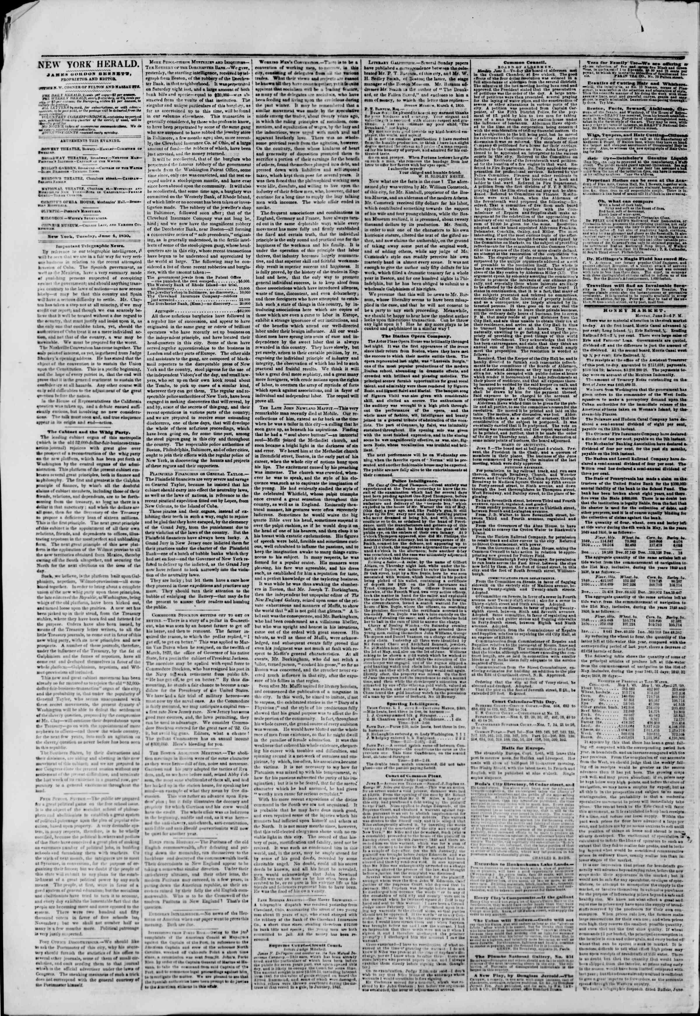 4 Haziran 1850 tarihli The New York Herald Gazetesi Sayfa 2
