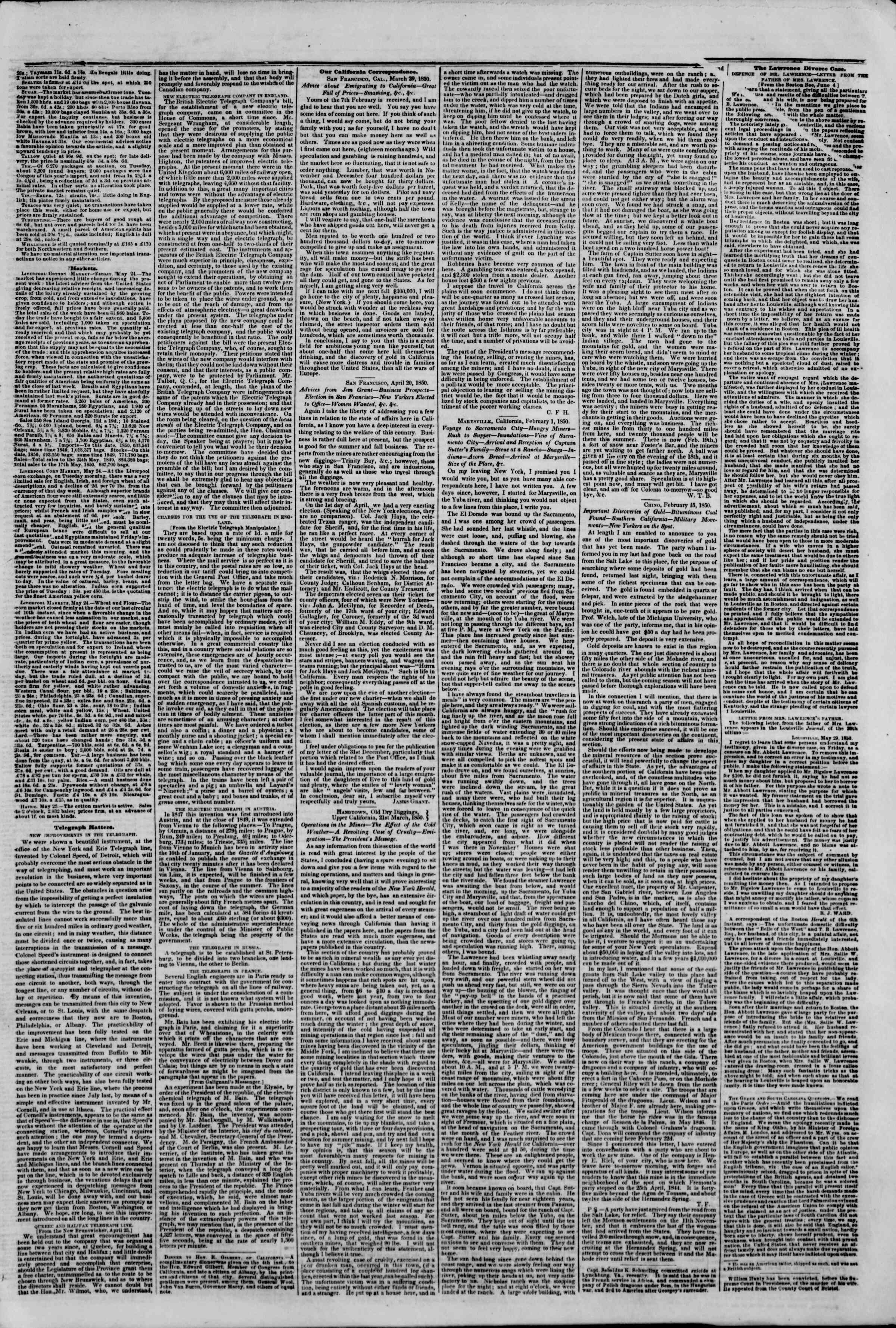 Newspaper of The New York Herald dated June 7, 1850 Page 3