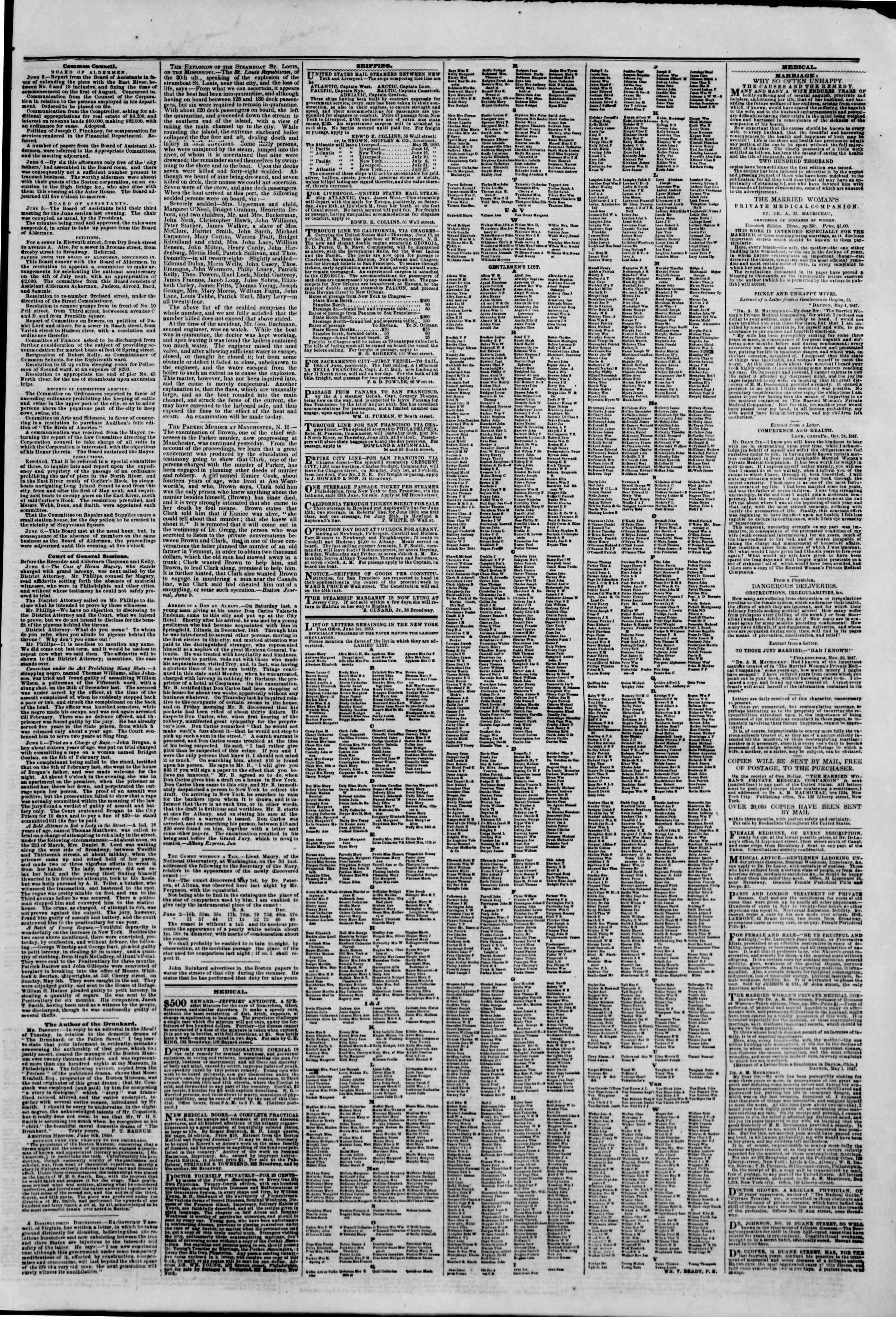 Newspaper of The New York Herald dated June 7, 1850 Page 7