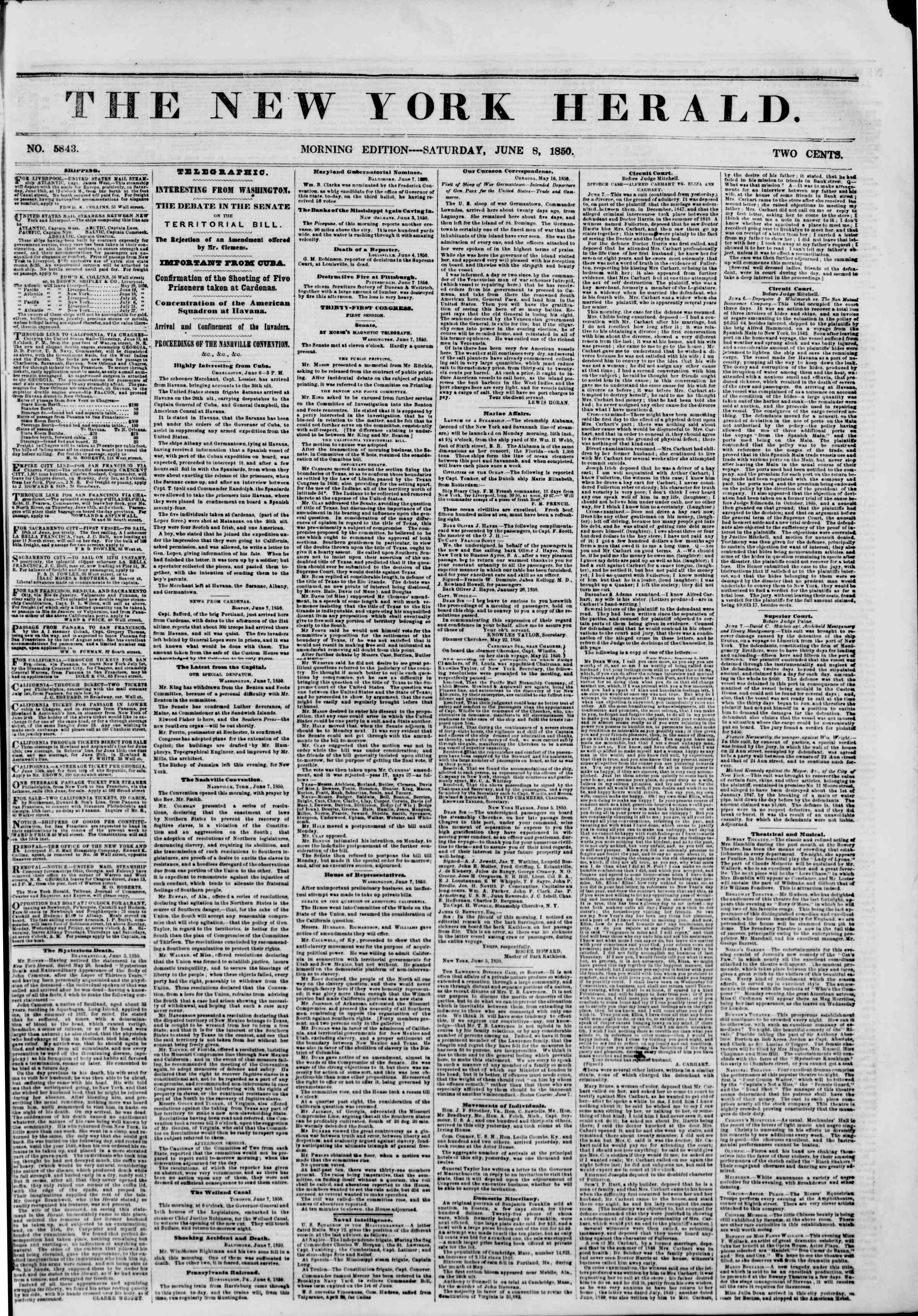 Newspaper of The New York Herald dated June 8, 1850 Page 1