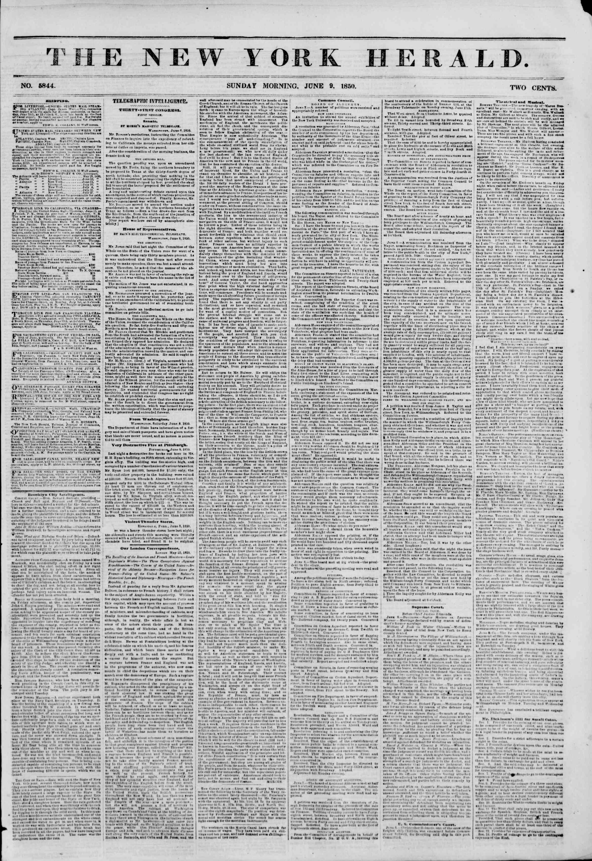 Newspaper of The New York Herald dated June 9, 1850 Page 1