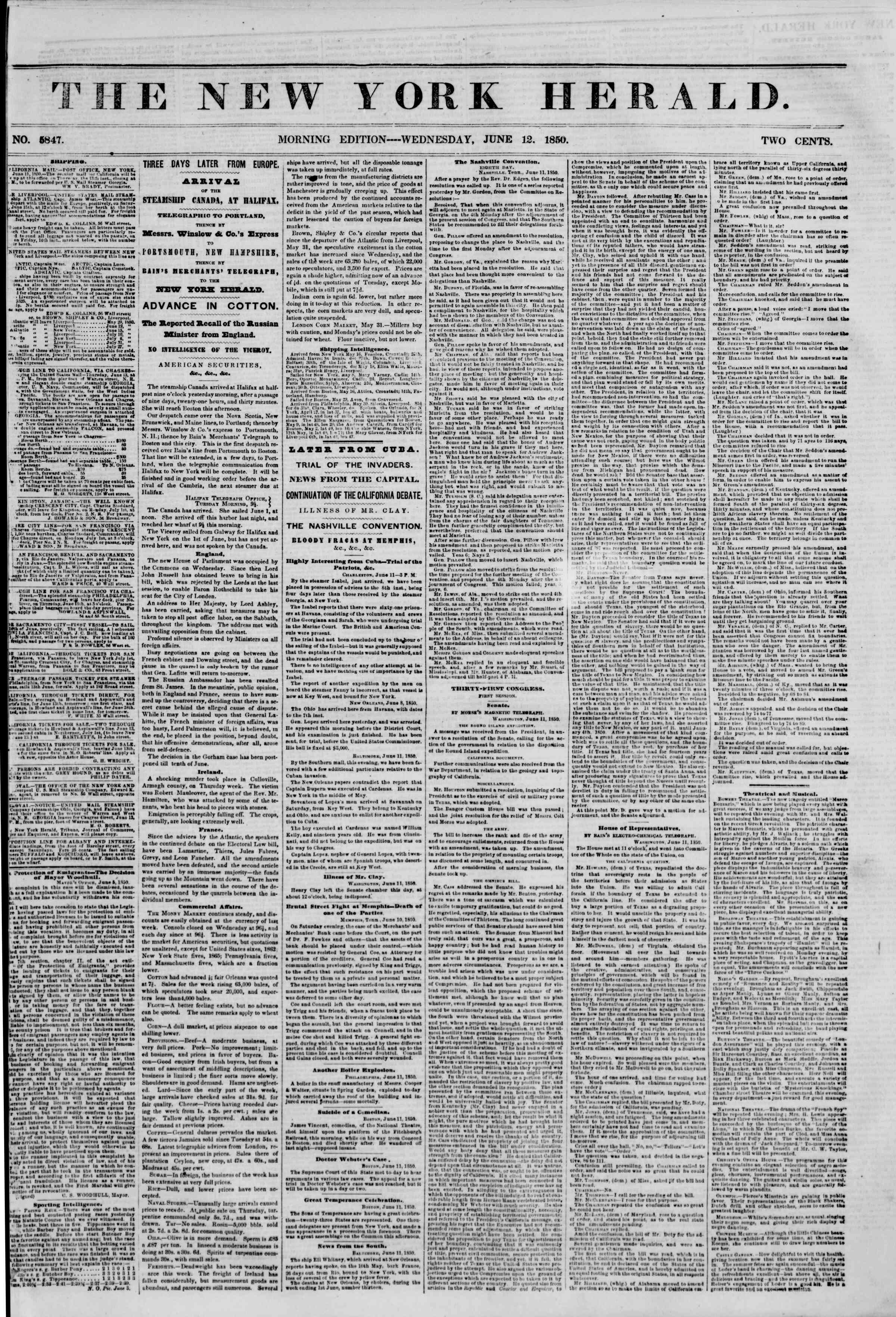 Newspaper of The New York Herald dated June 12, 1850 Page 1
