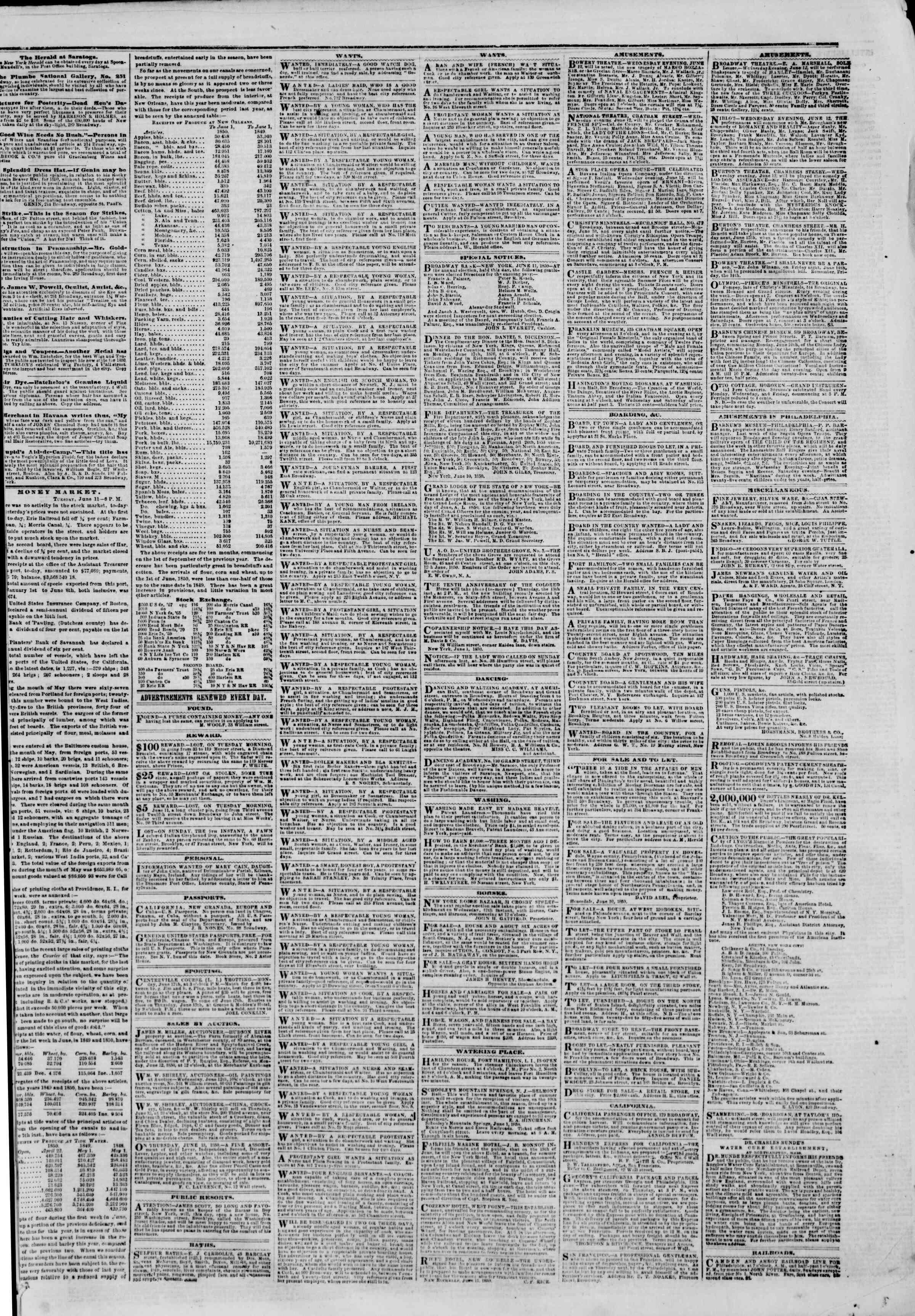 Newspaper of The New York Herald dated June 12, 1850 Page 3