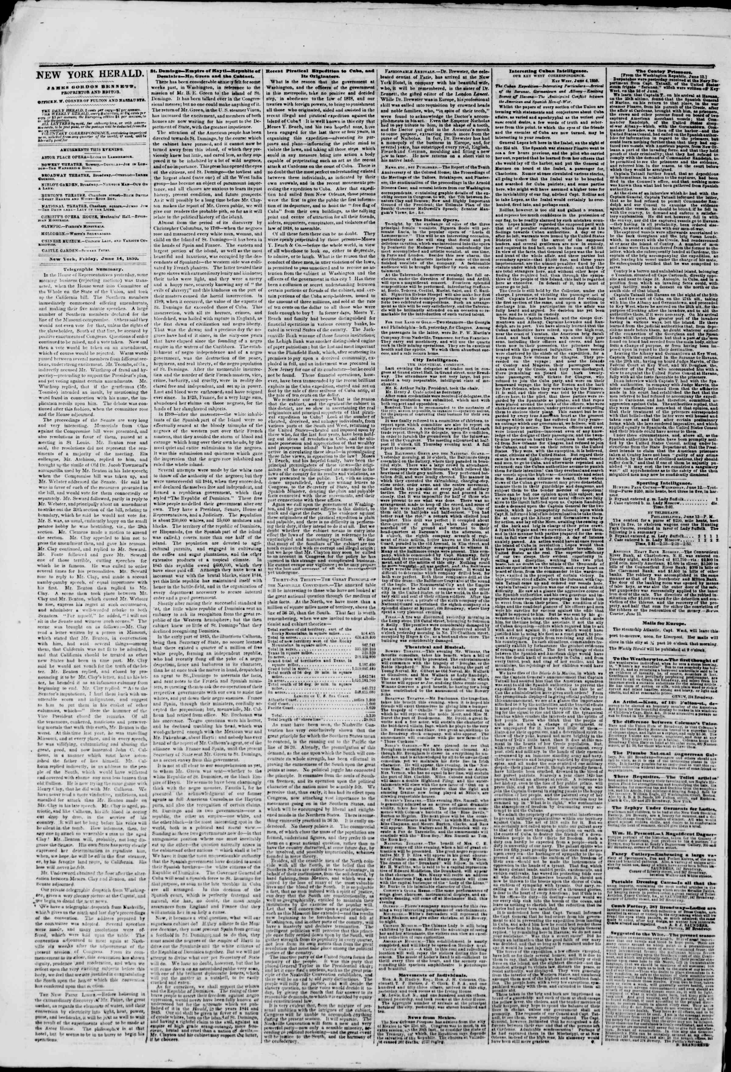 Newspaper of The New York Herald dated June 14, 1850 Page 2