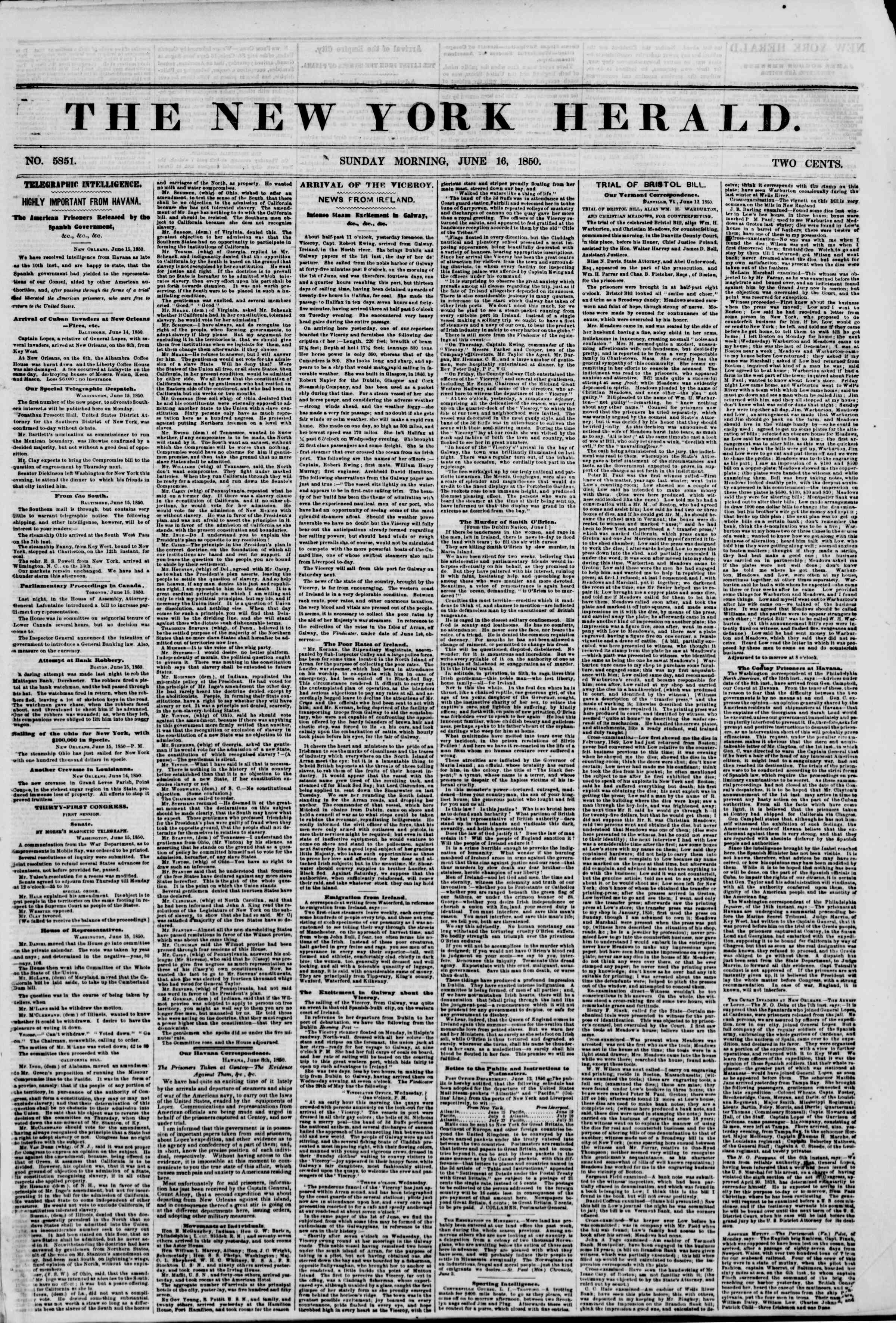 Newspaper of The New York Herald dated June 16, 1850 Page 1