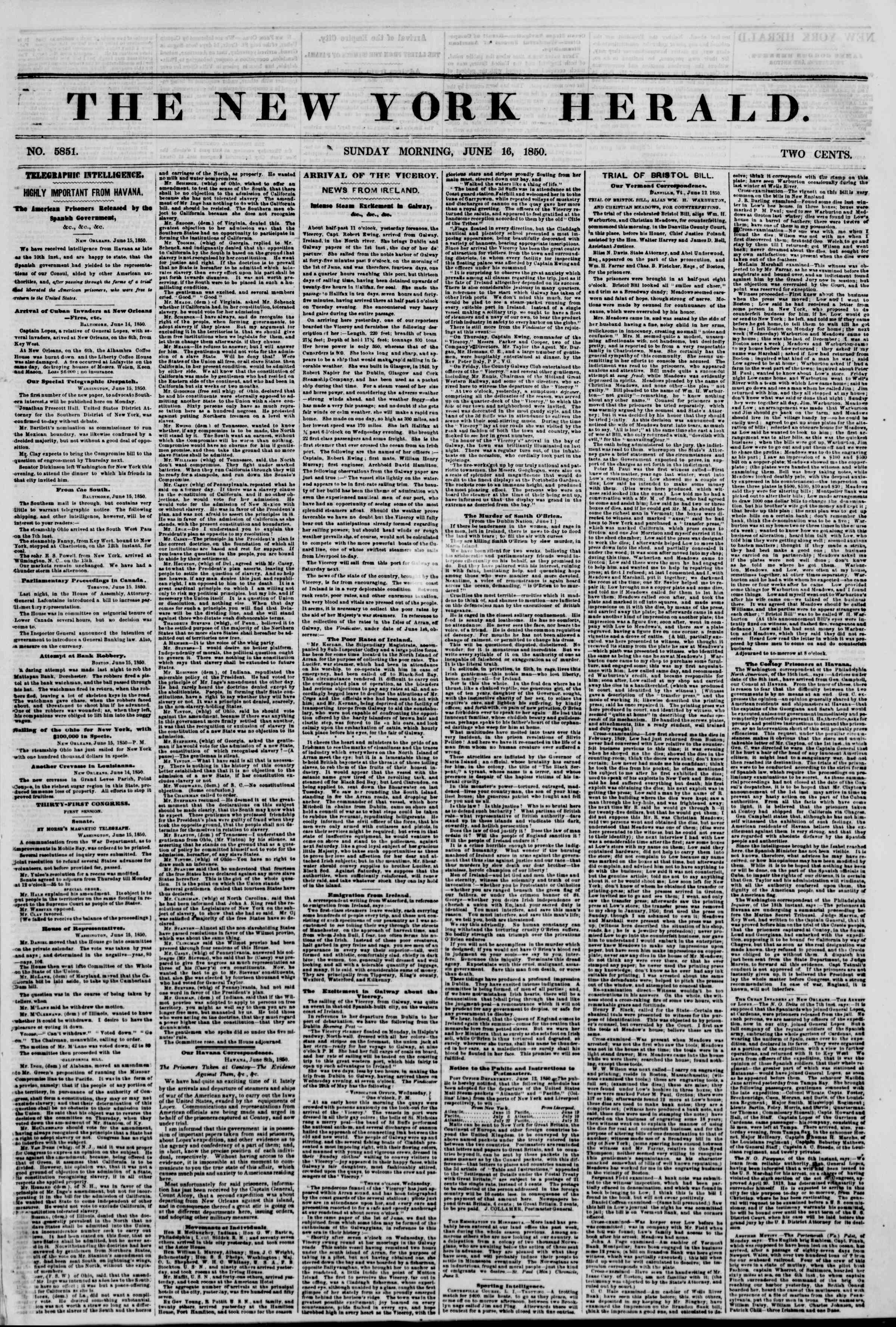 Newspaper of The New York Herald dated June 16, 1850 Page 2