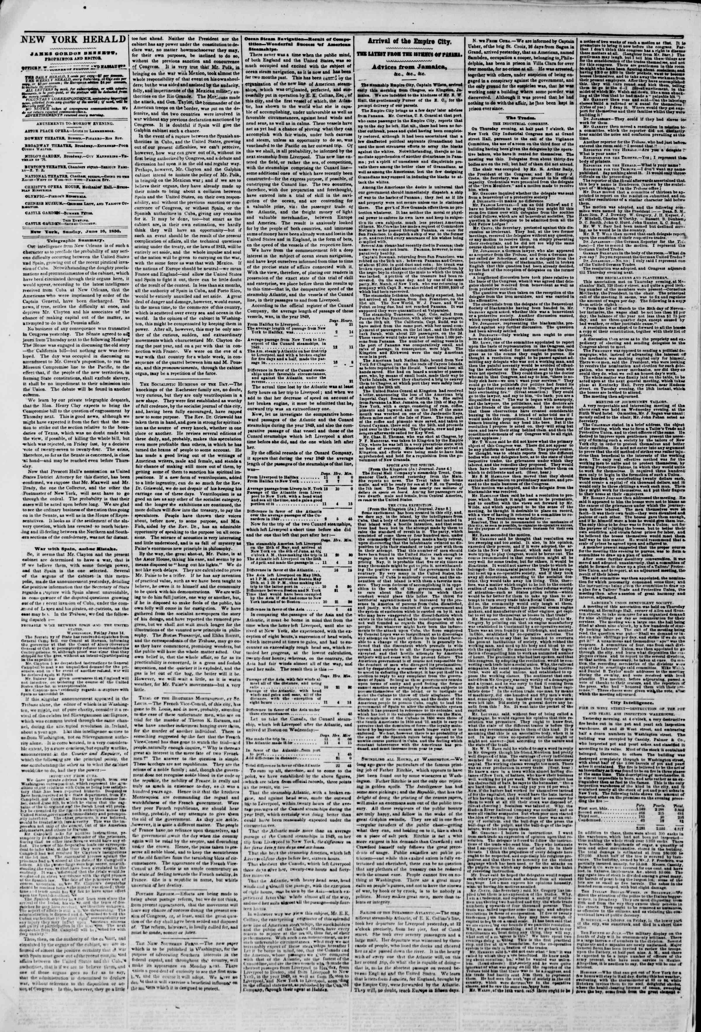 Newspaper of The New York Herald dated June 16, 1850 Page 3