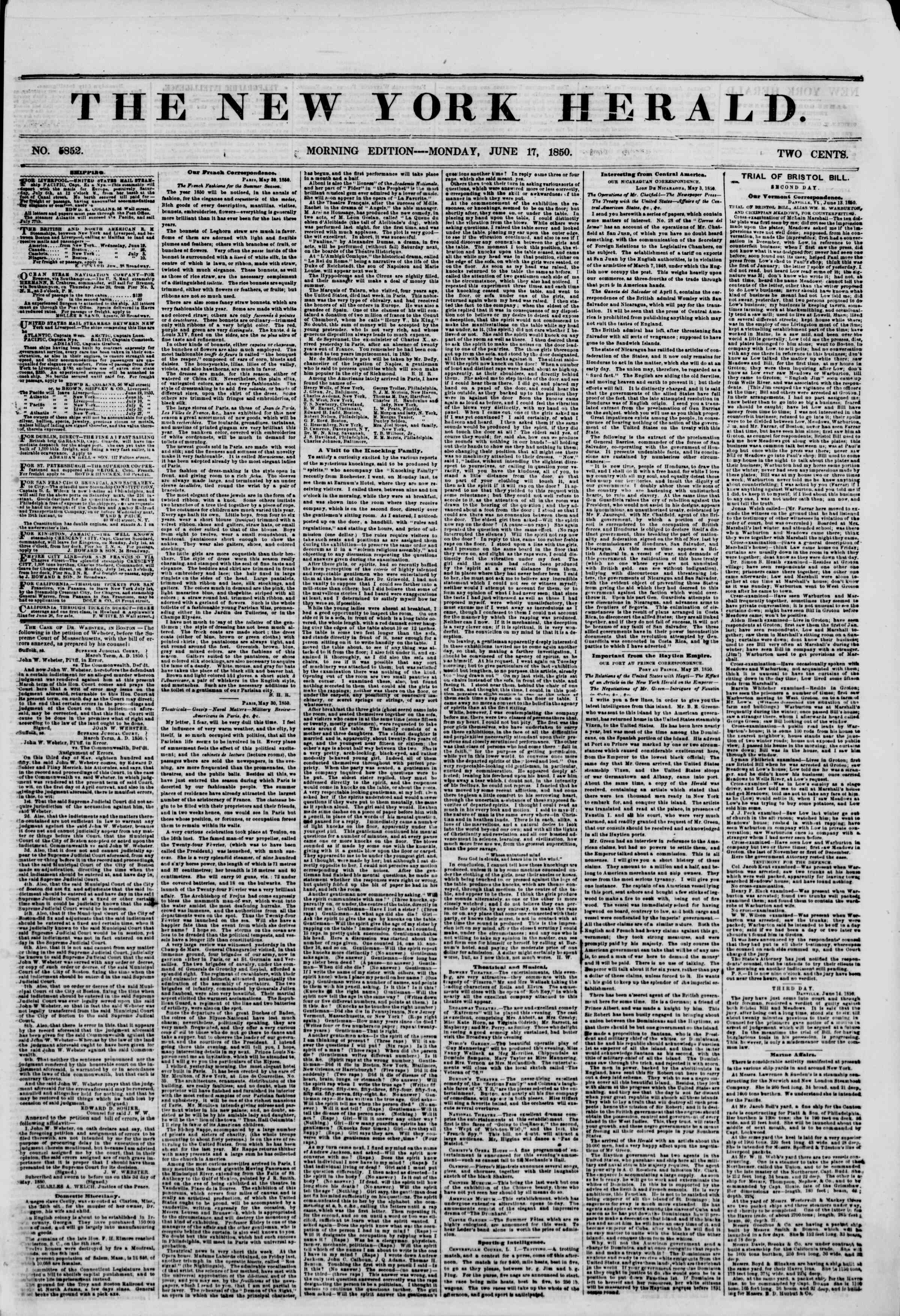 Newspaper of The New York Herald dated June 17, 1850 Page 1