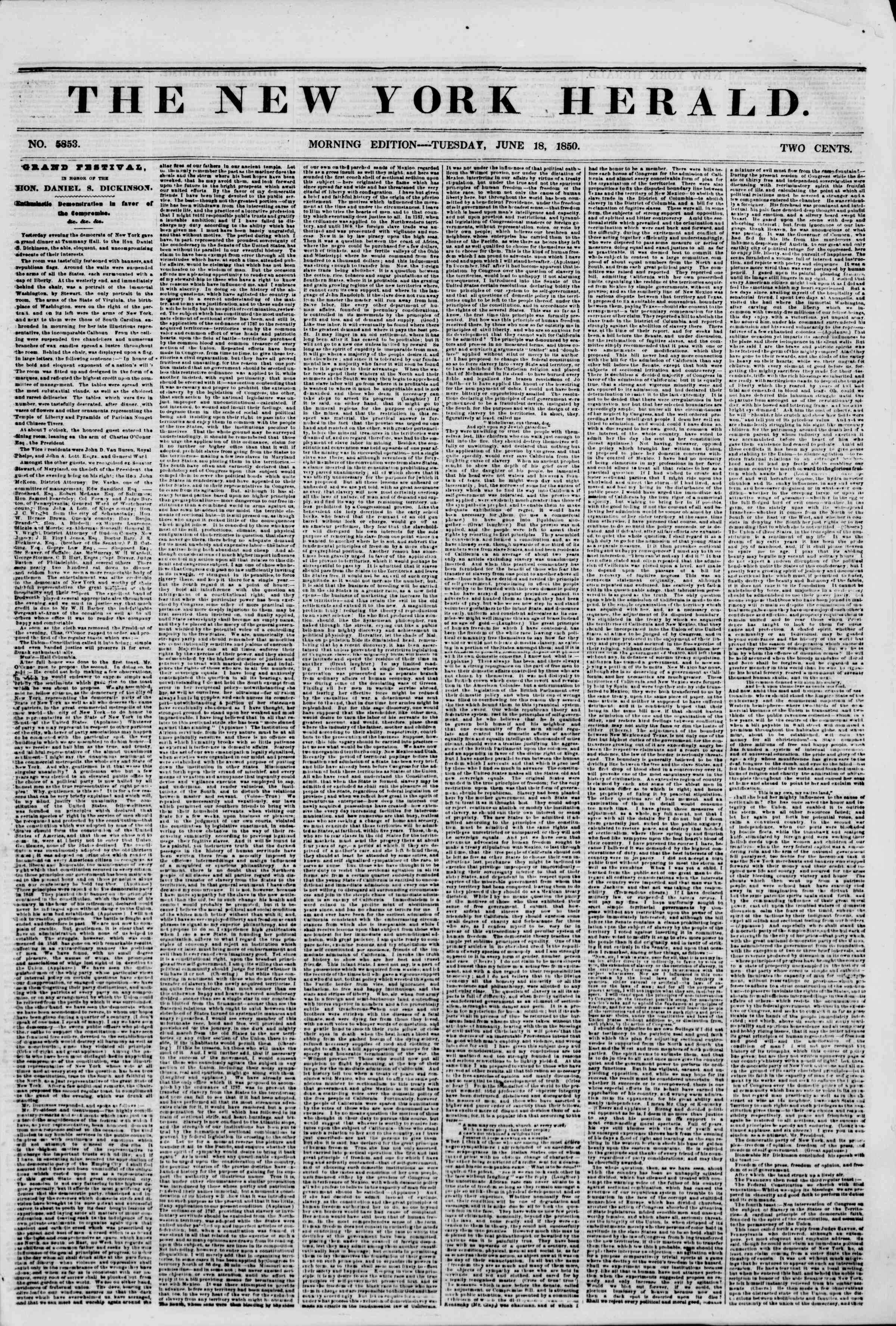 Newspaper of The New York Herald dated June 18, 1850 Page 1