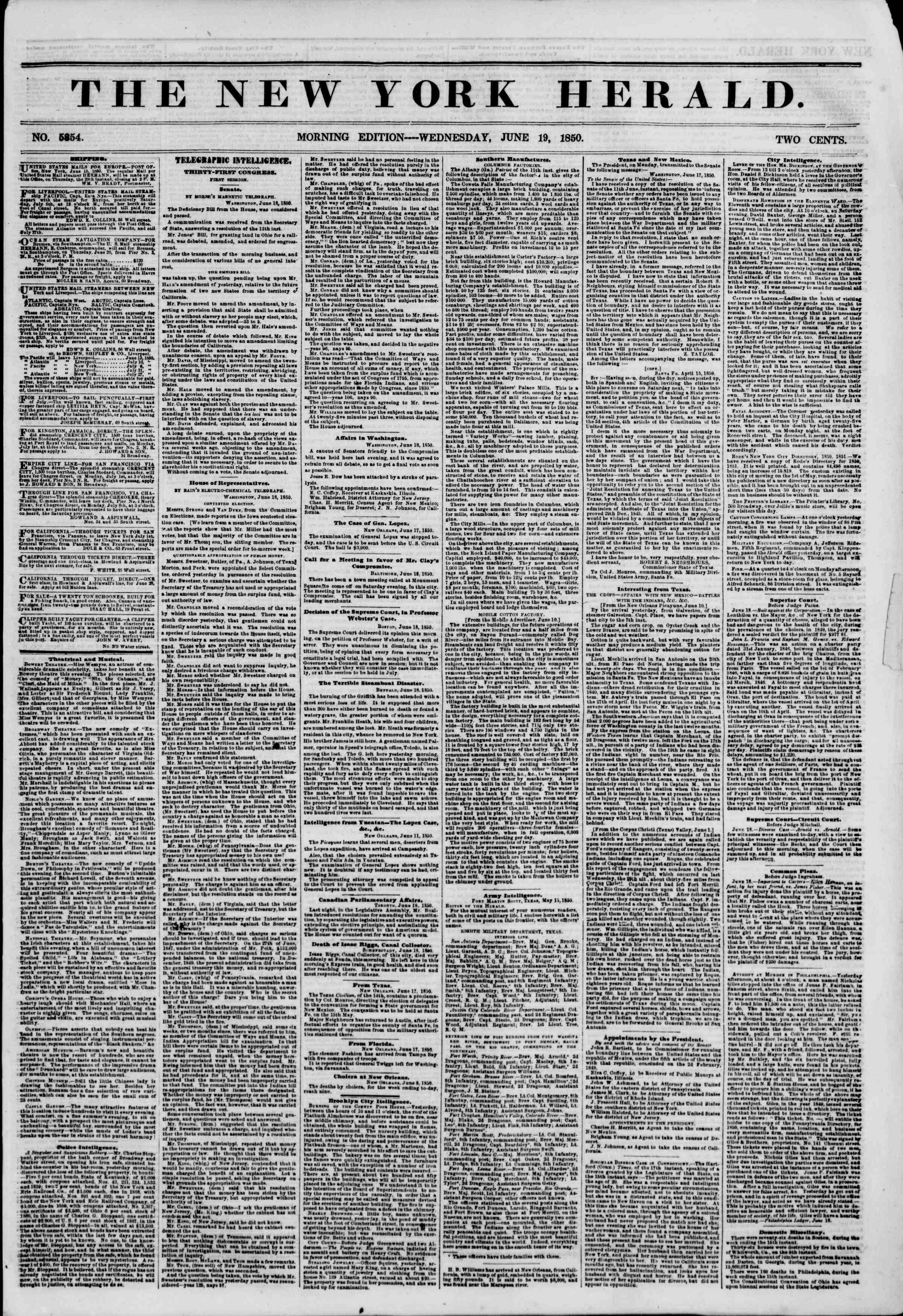 Newspaper of The New York Herald dated June 19, 1850 Page 1