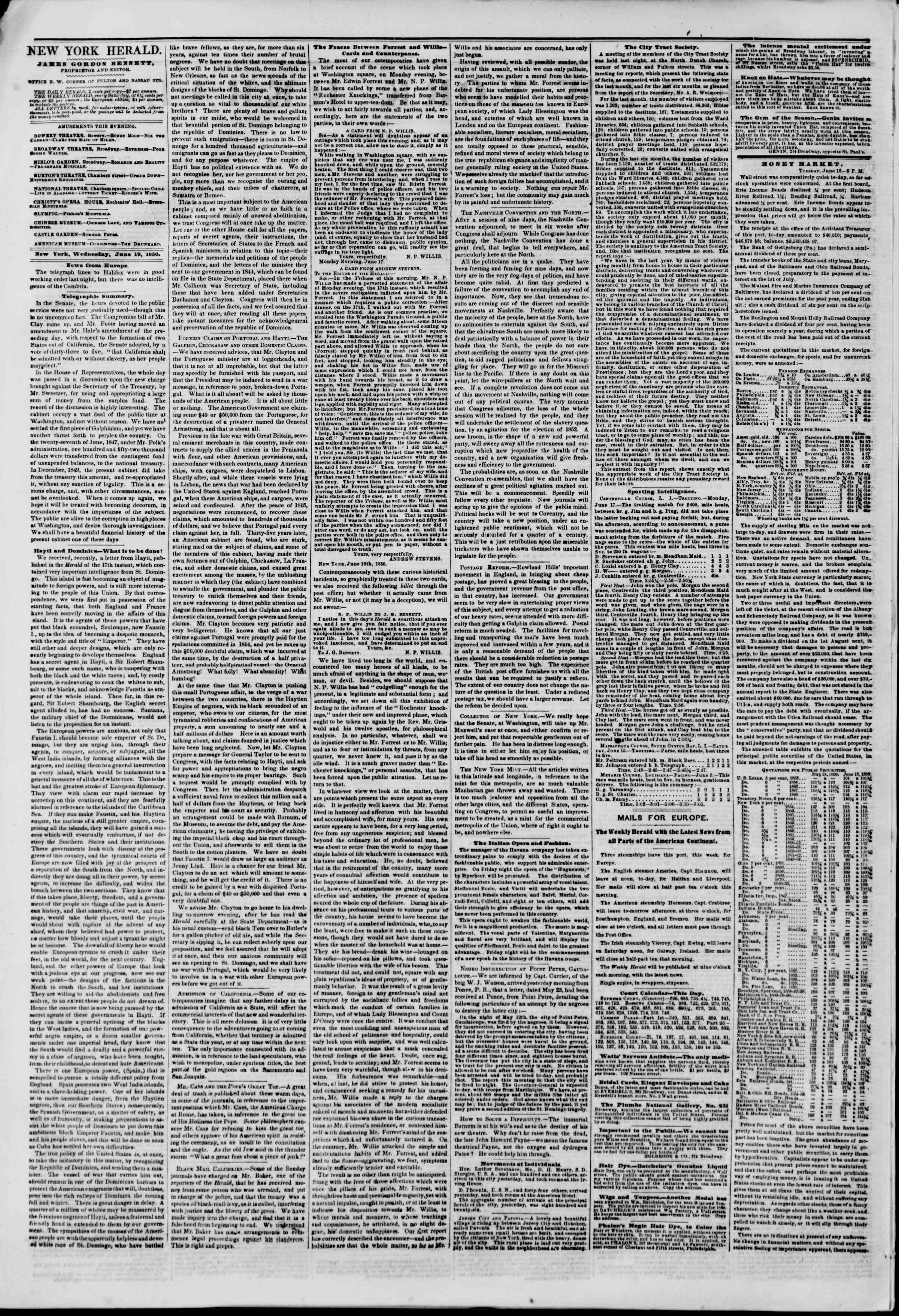 Newspaper of The New York Herald dated June 19, 1850 Page 2