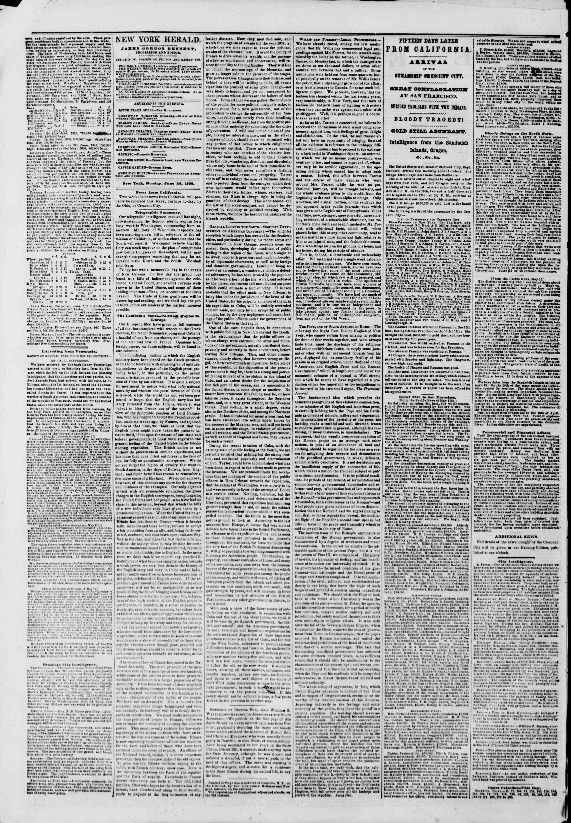Newspaper of The New York Herald dated June 24, 1850 Page 2
