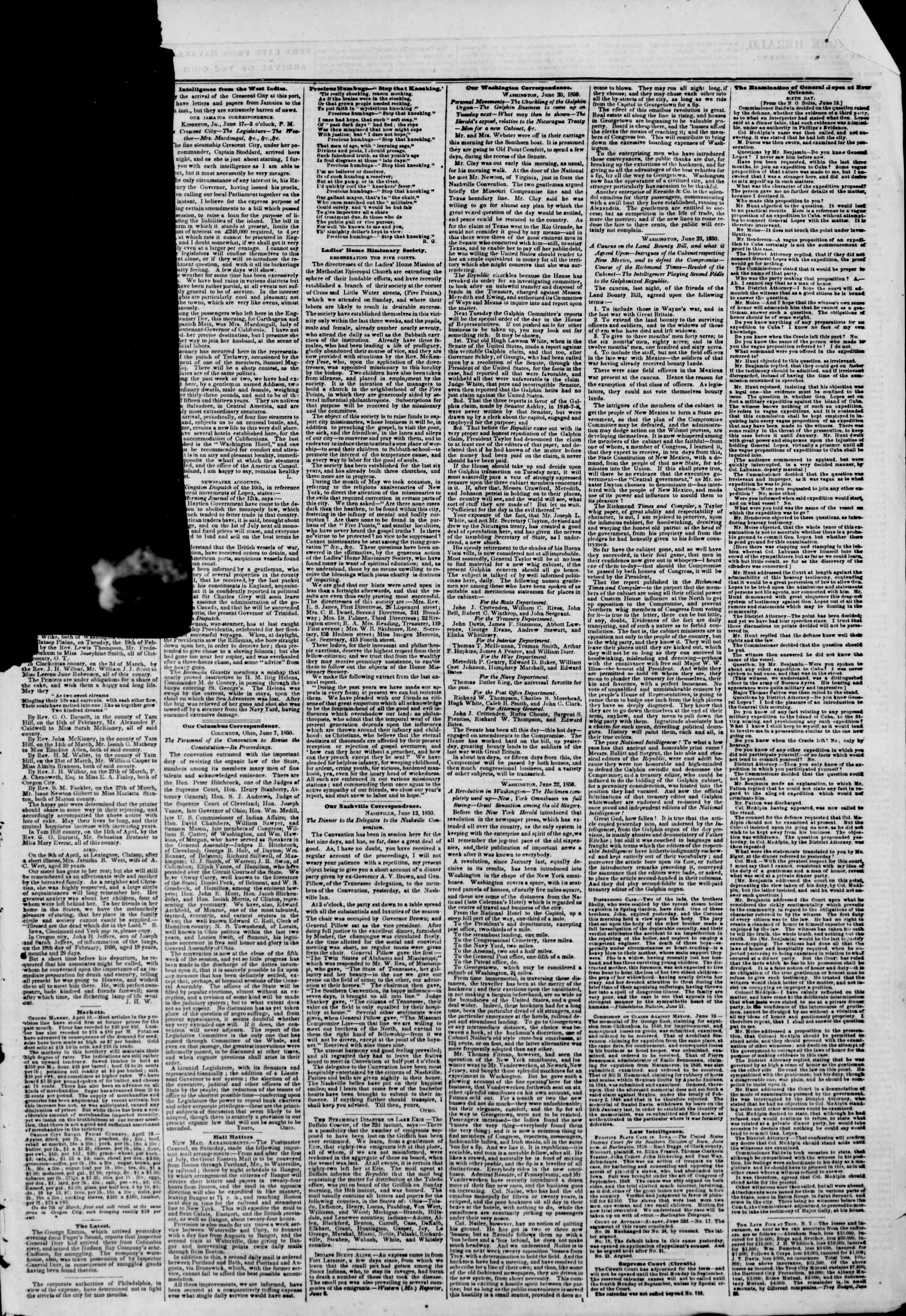Newspaper of The New York Herald dated June 25, 1850 Page 5