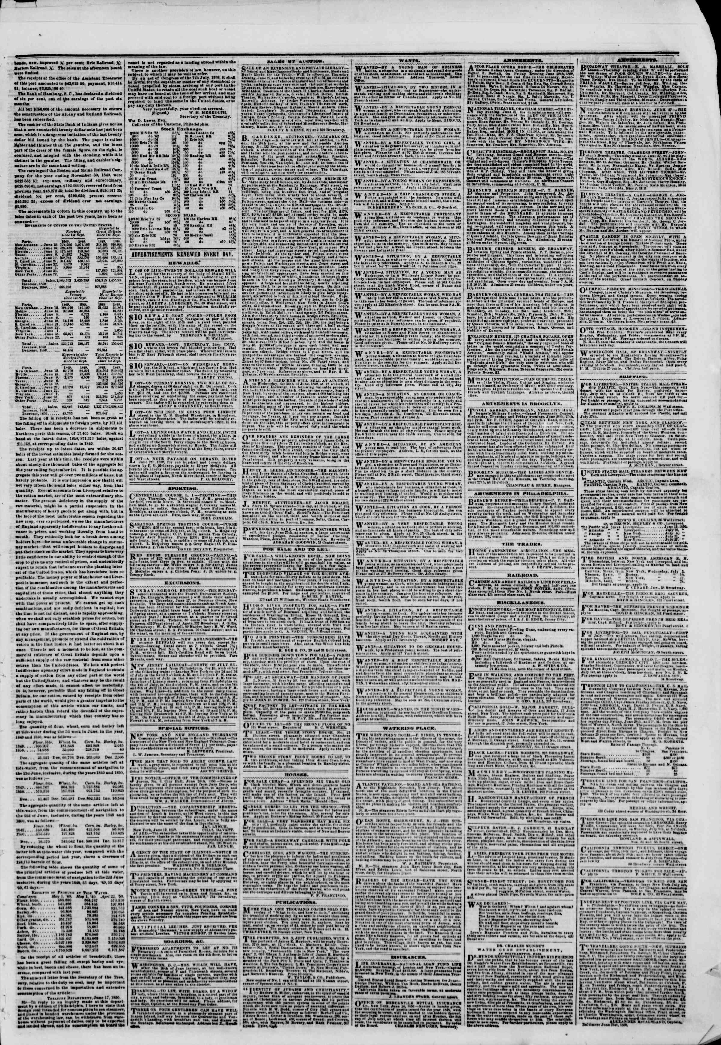 Newspaper of The New York Herald dated June 27, 1850 Page 3
