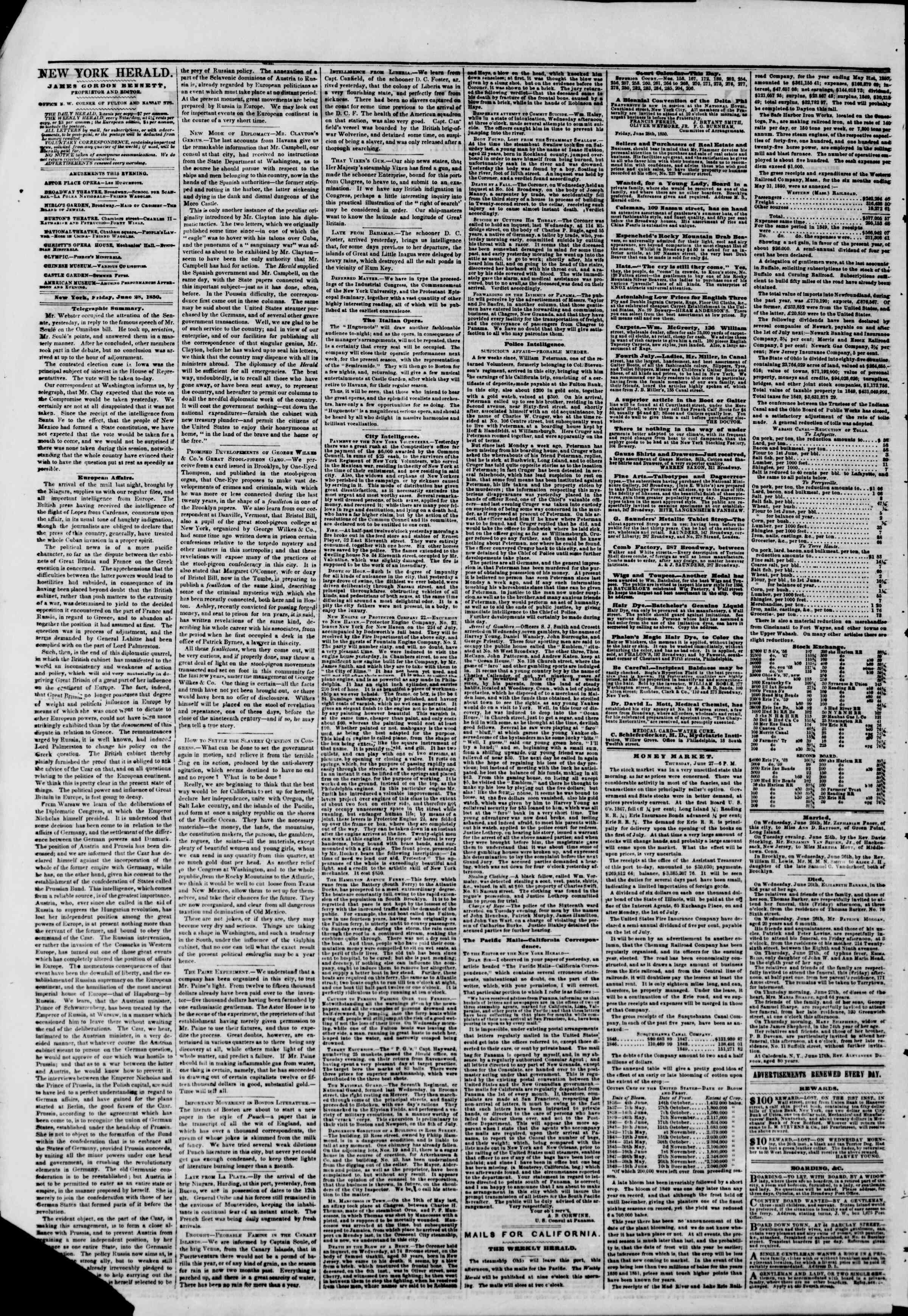 Newspaper of The New York Herald dated June 28, 1850 Page 2