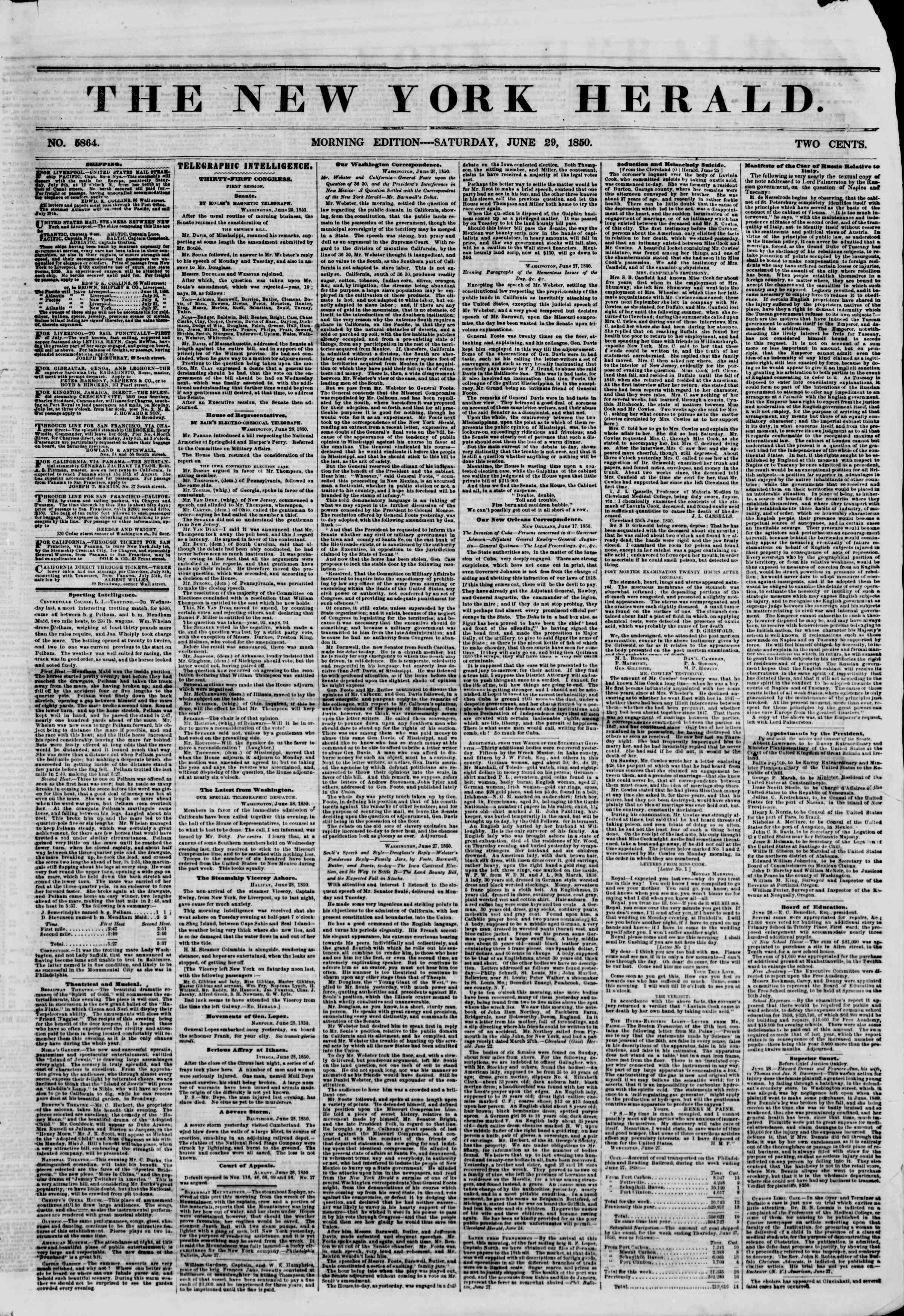 Newspaper of The New York Herald dated June 29, 1850 Page 1