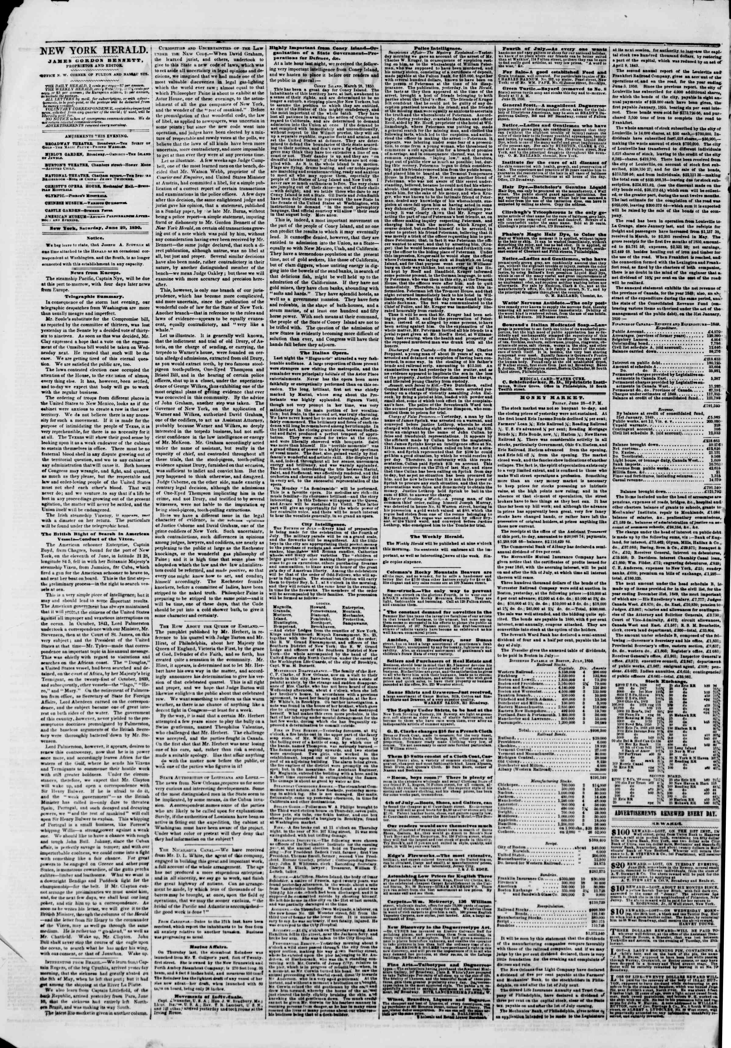 Newspaper of The New York Herald dated June 29, 1850 Page 2