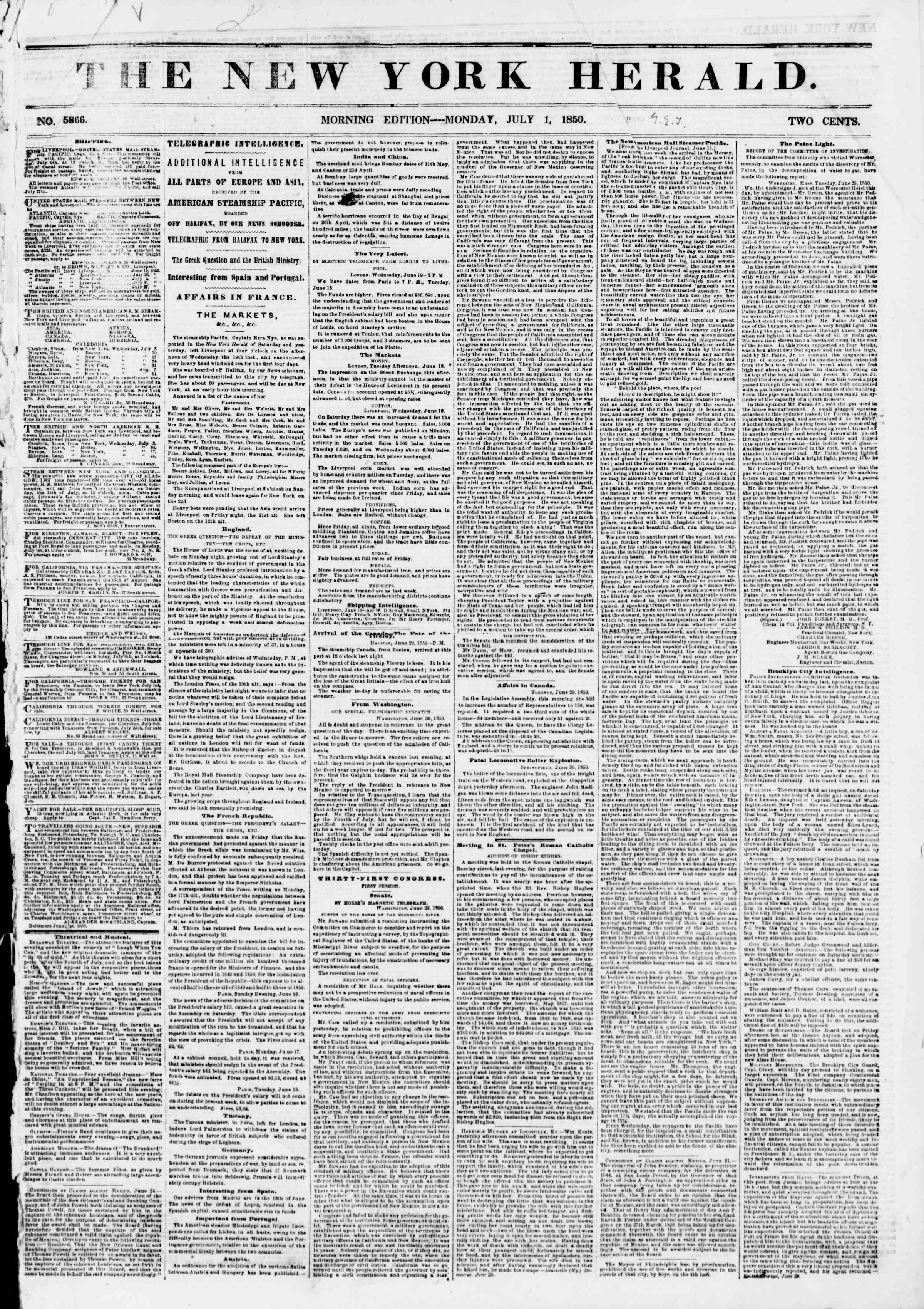 Newspaper of The New York Herald dated July 1, 1850 Page 1