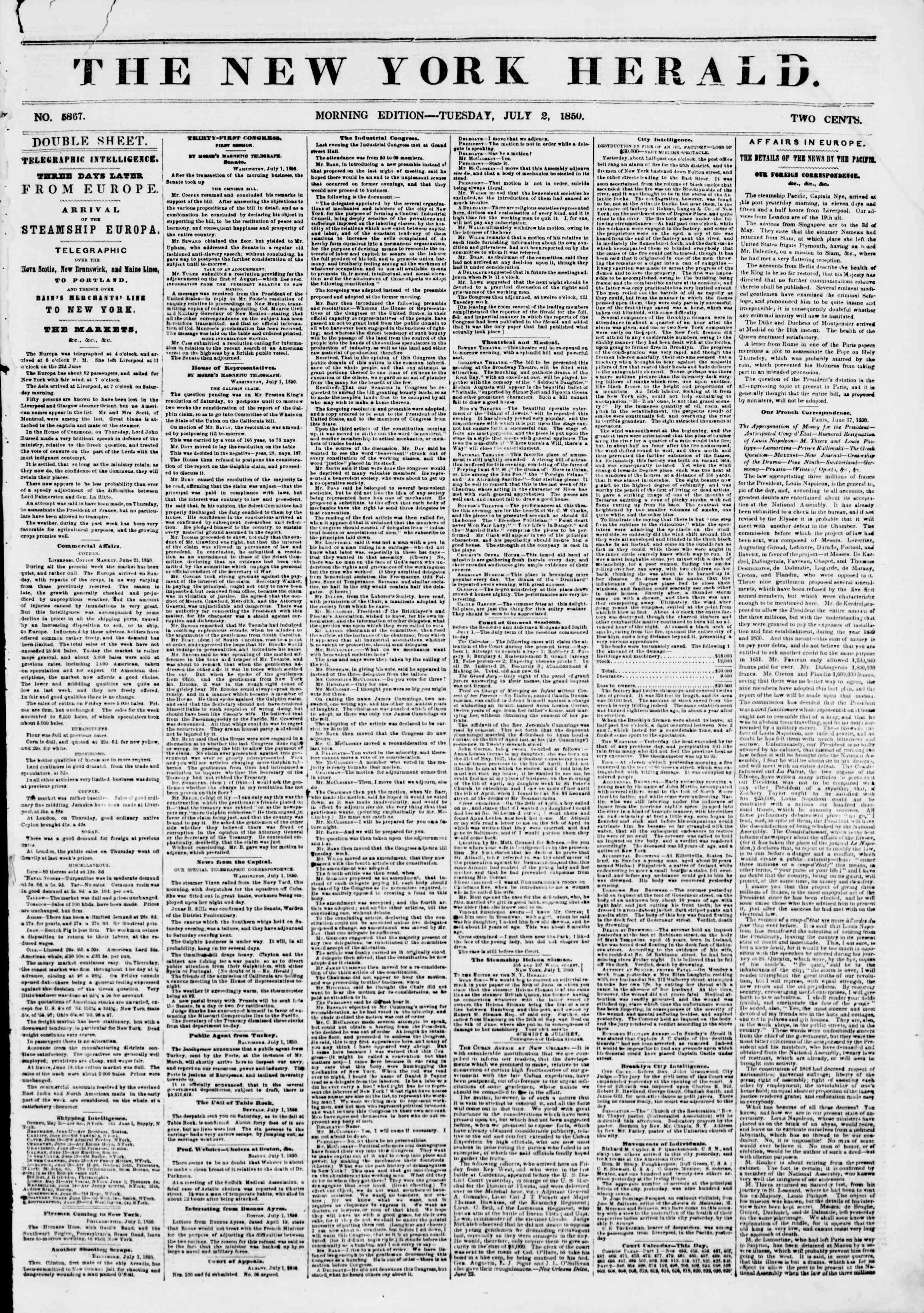 Newspaper of The New York Herald dated July 2, 1850 Page 1