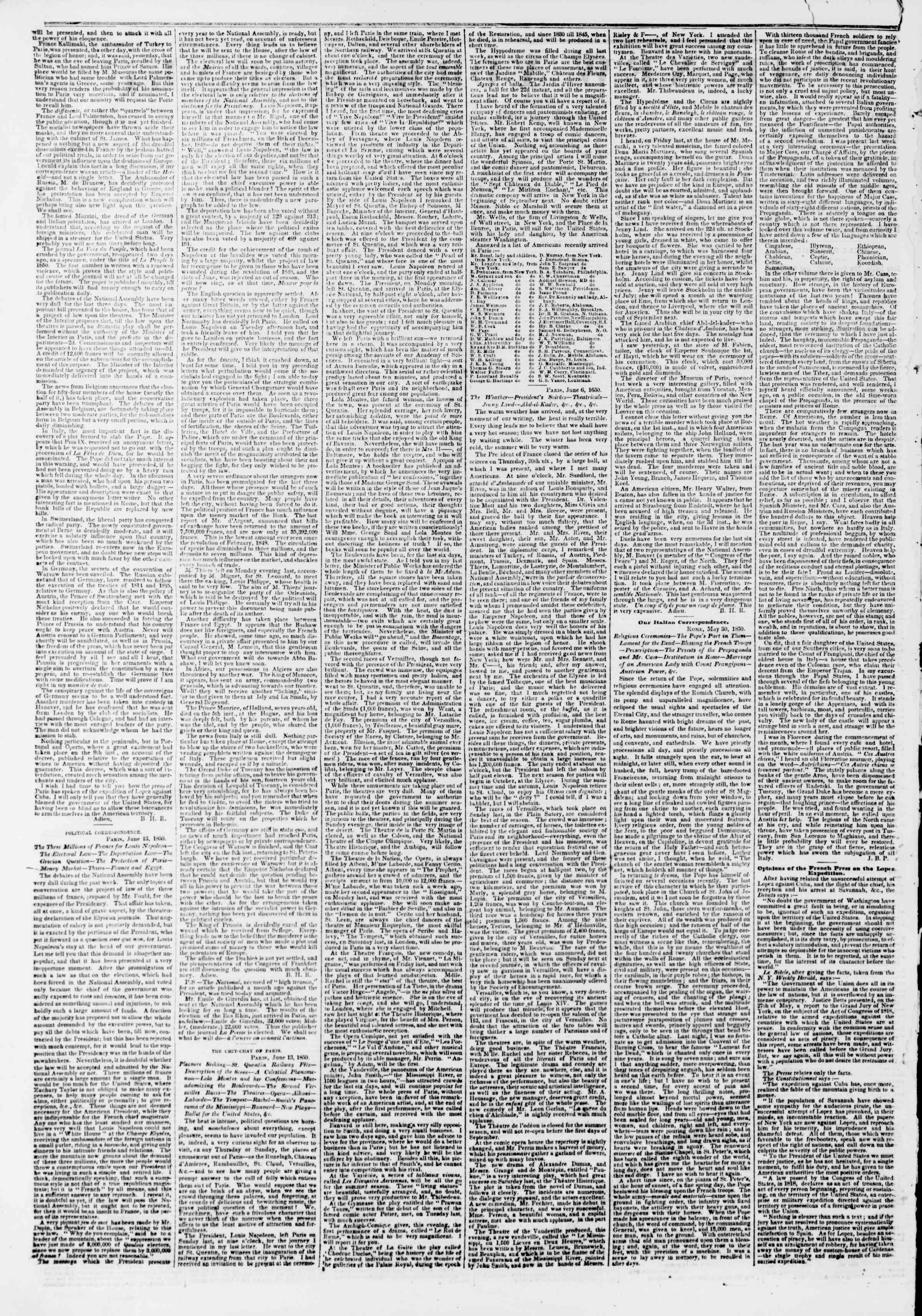 Newspaper of The New York Herald dated July 2, 1850 Page 2