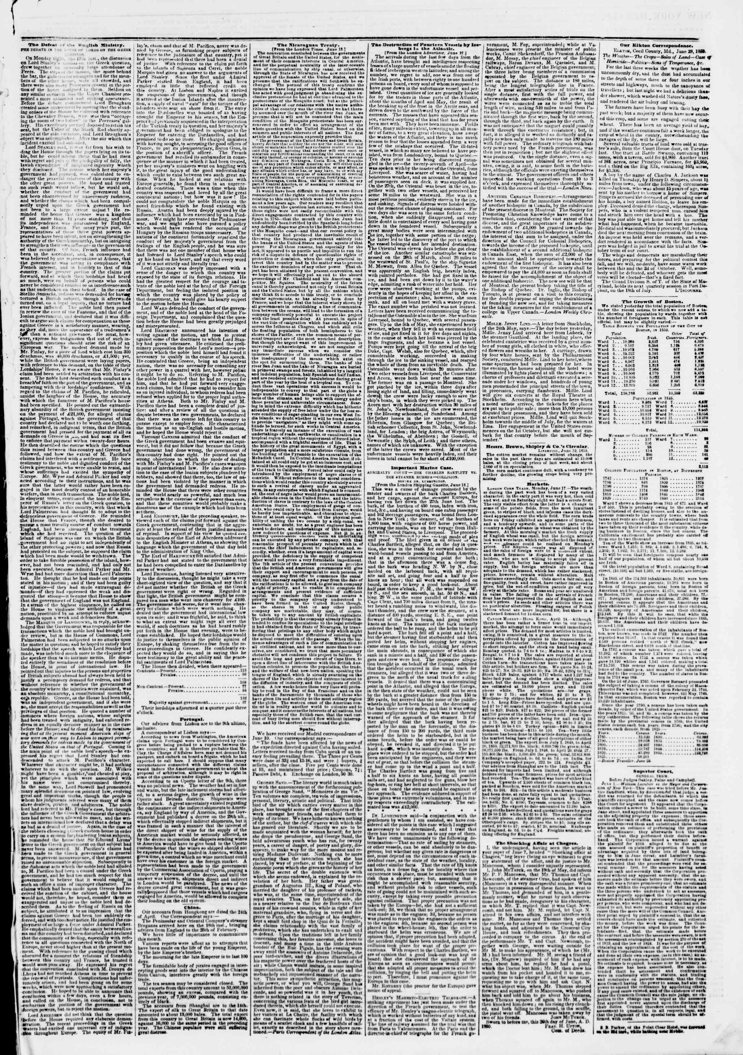 Newspaper of The New York Herald dated July 2, 1850 Page 3