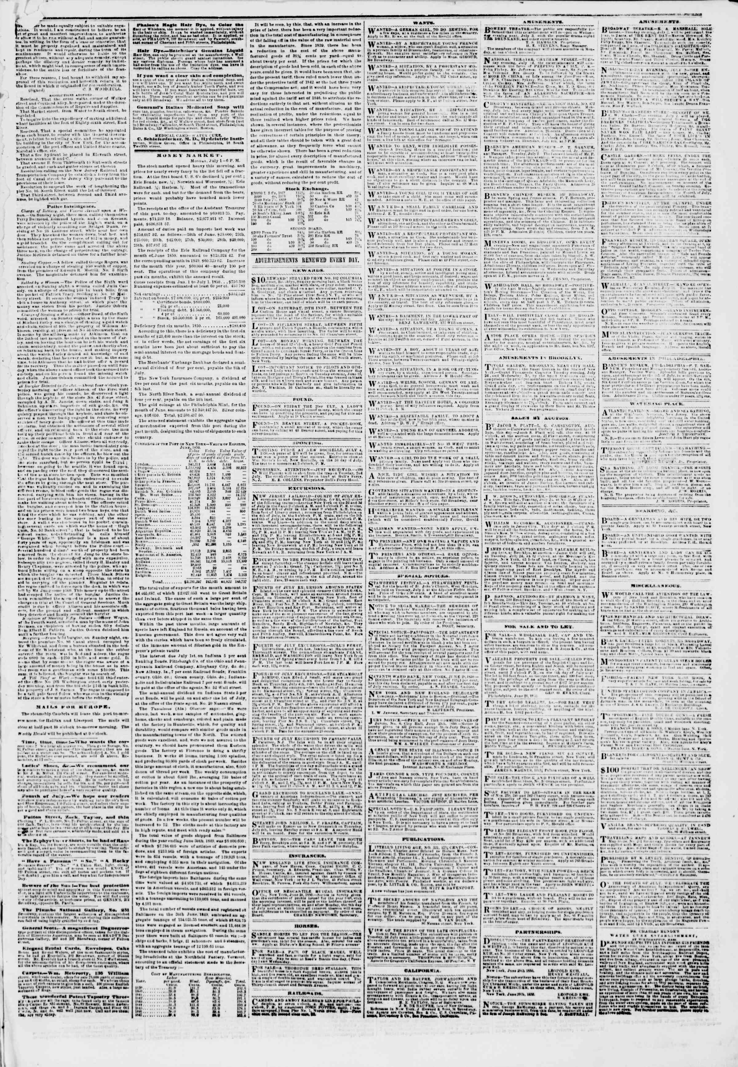 Newspaper of The New York Herald dated July 2, 1850 Page 5