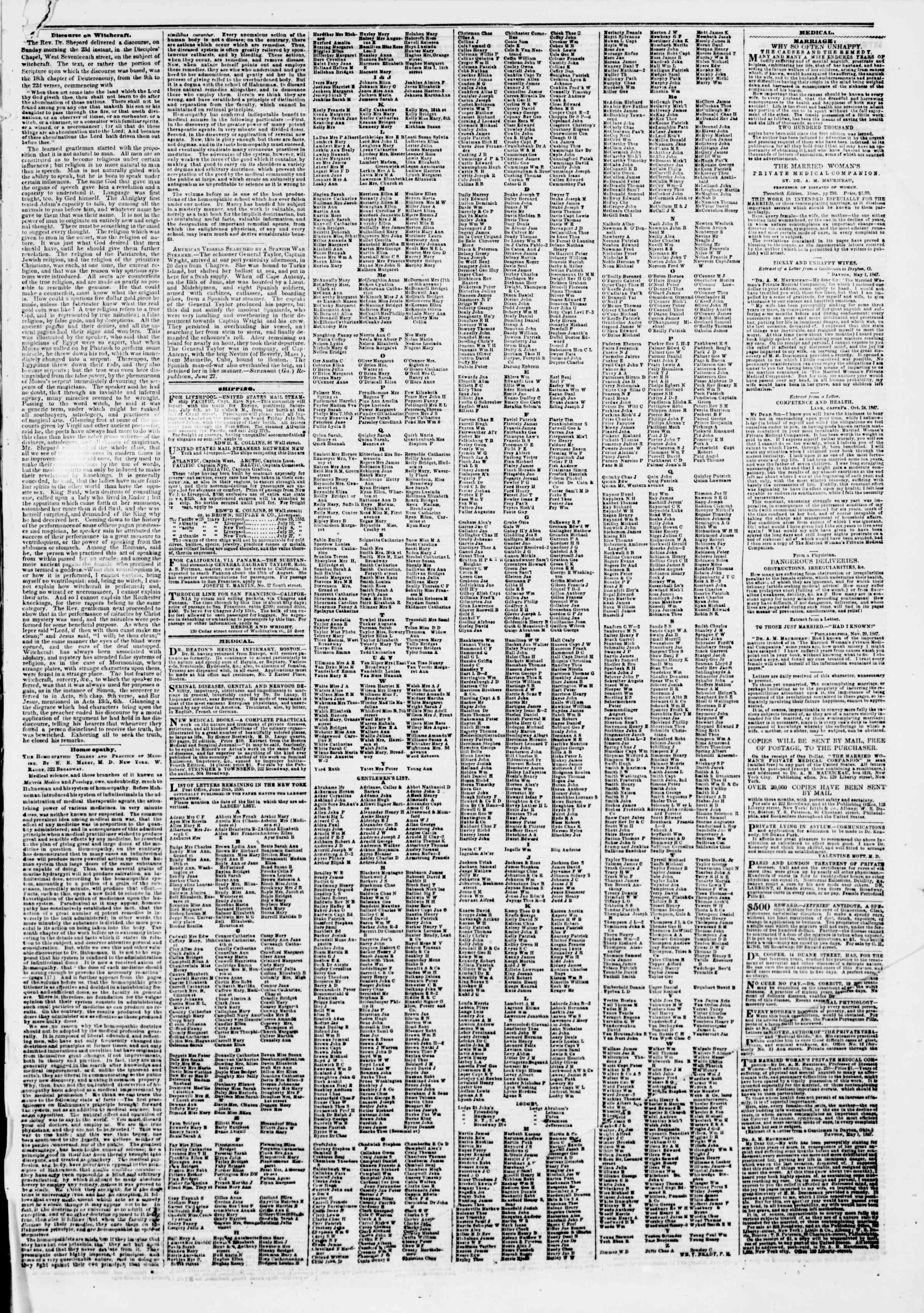 Newspaper of The New York Herald dated July 2, 1850 Page 7
