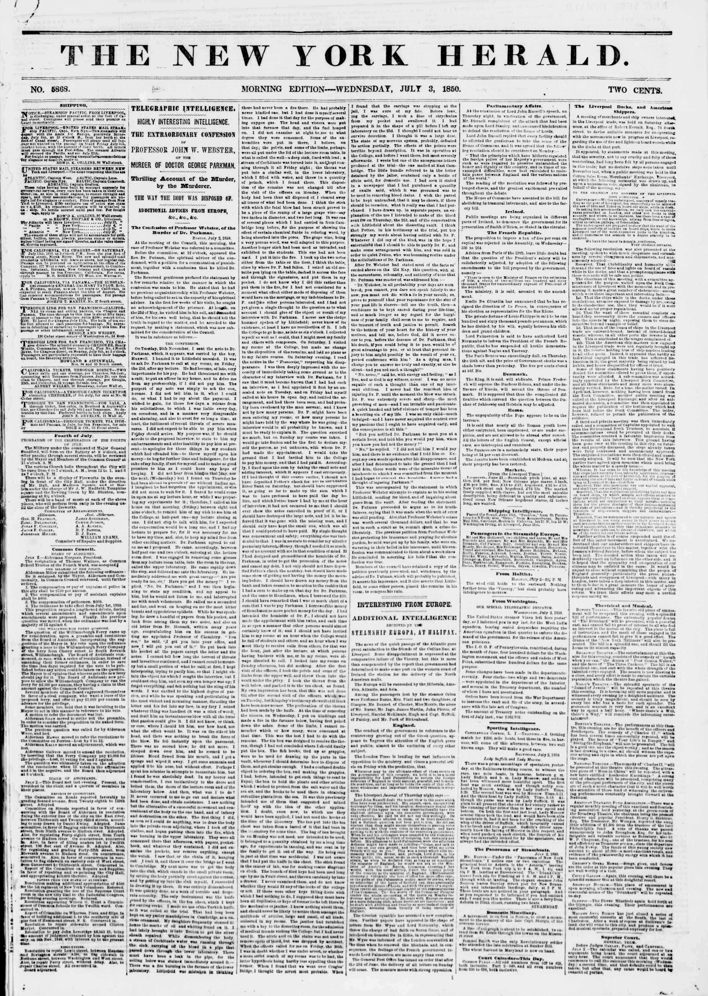 Newspaper of The New York Herald dated July 3, 1850 Page 1