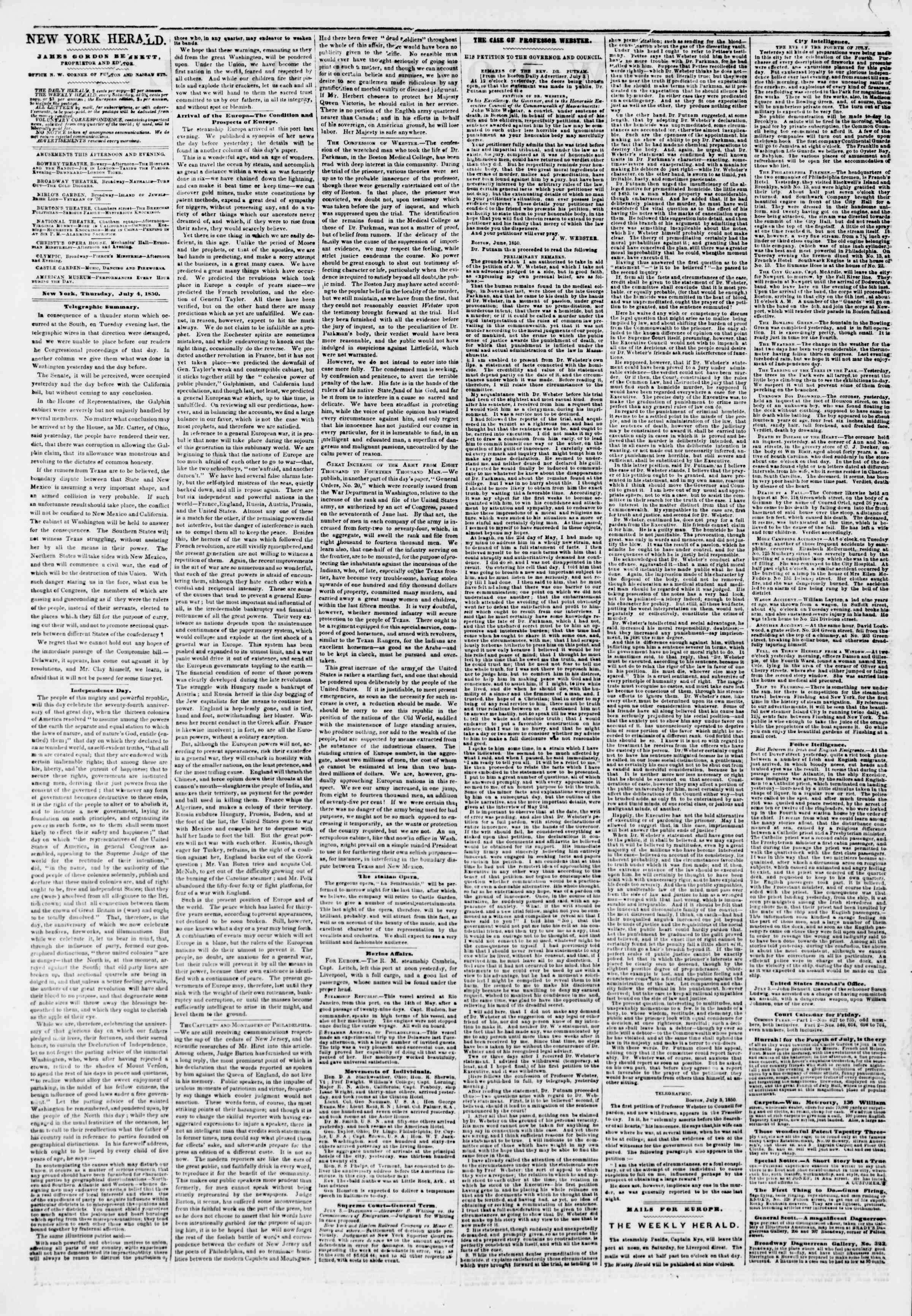 Newspaper of The New York Herald dated July 4, 1850 Page 2