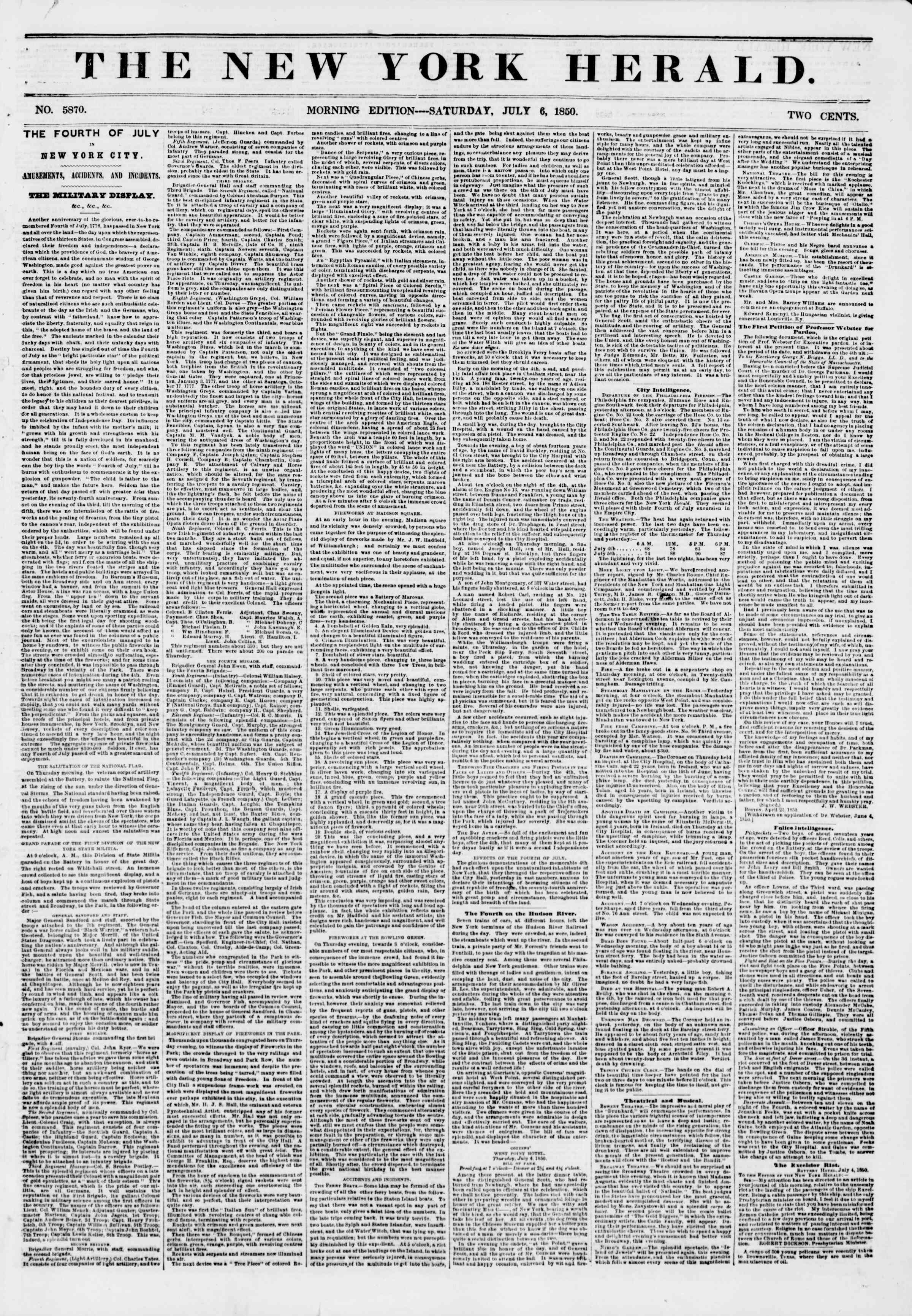 Newspaper of The New York Herald dated July 6, 1850 Page 1