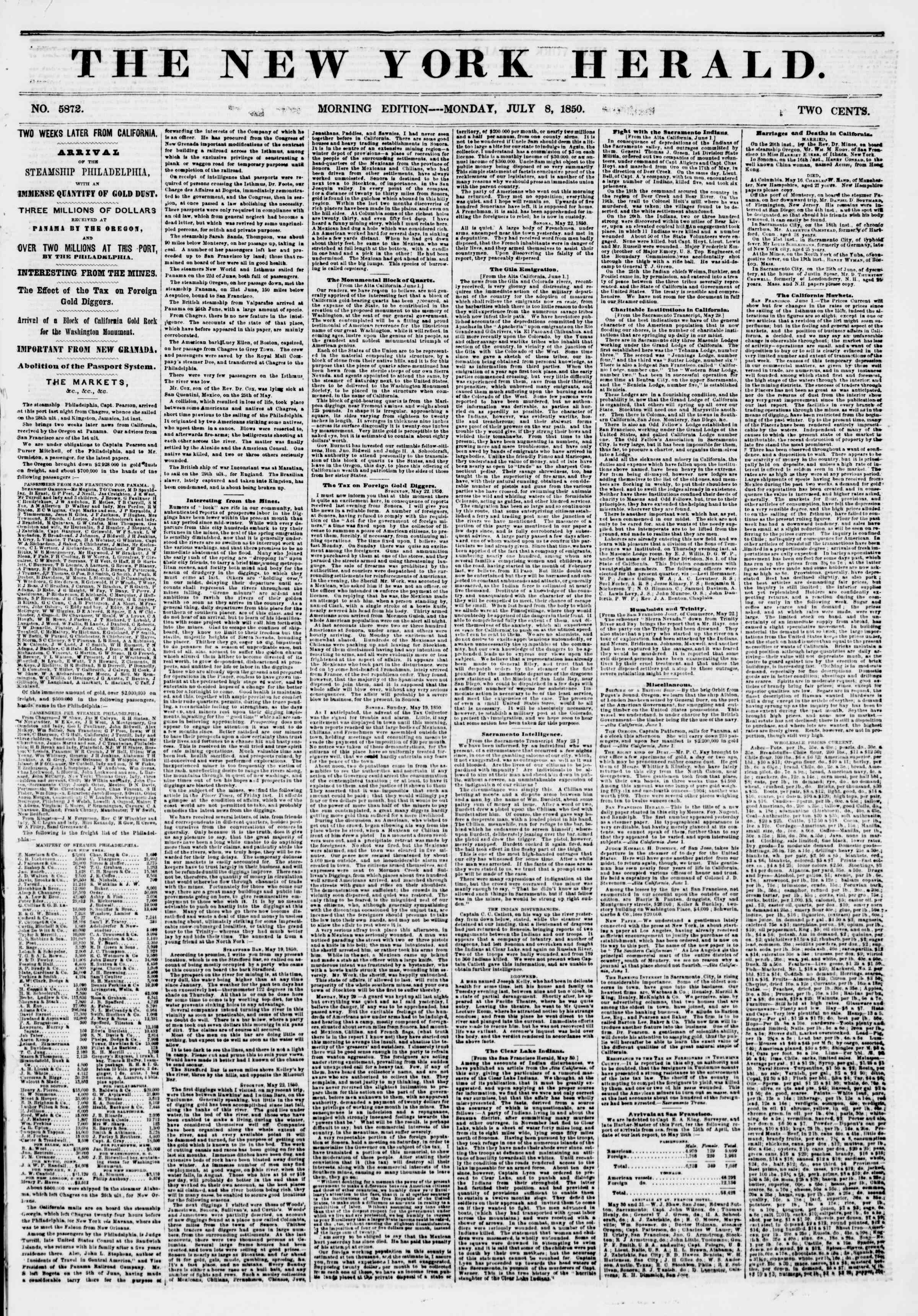 Newspaper of The New York Herald dated July 8, 1850 Page 1