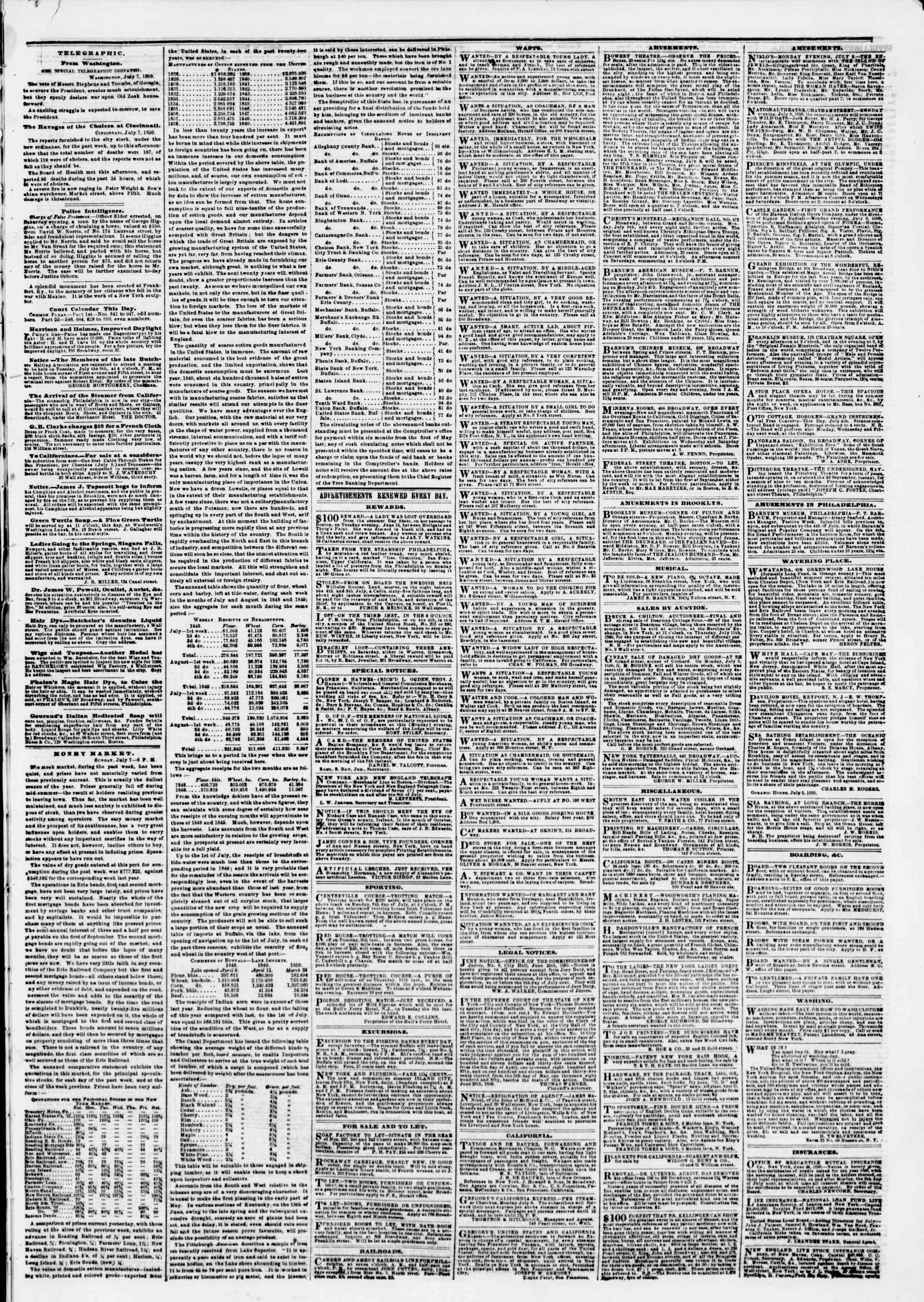 Newspaper of The New York Herald dated July 8, 1850 Page 3