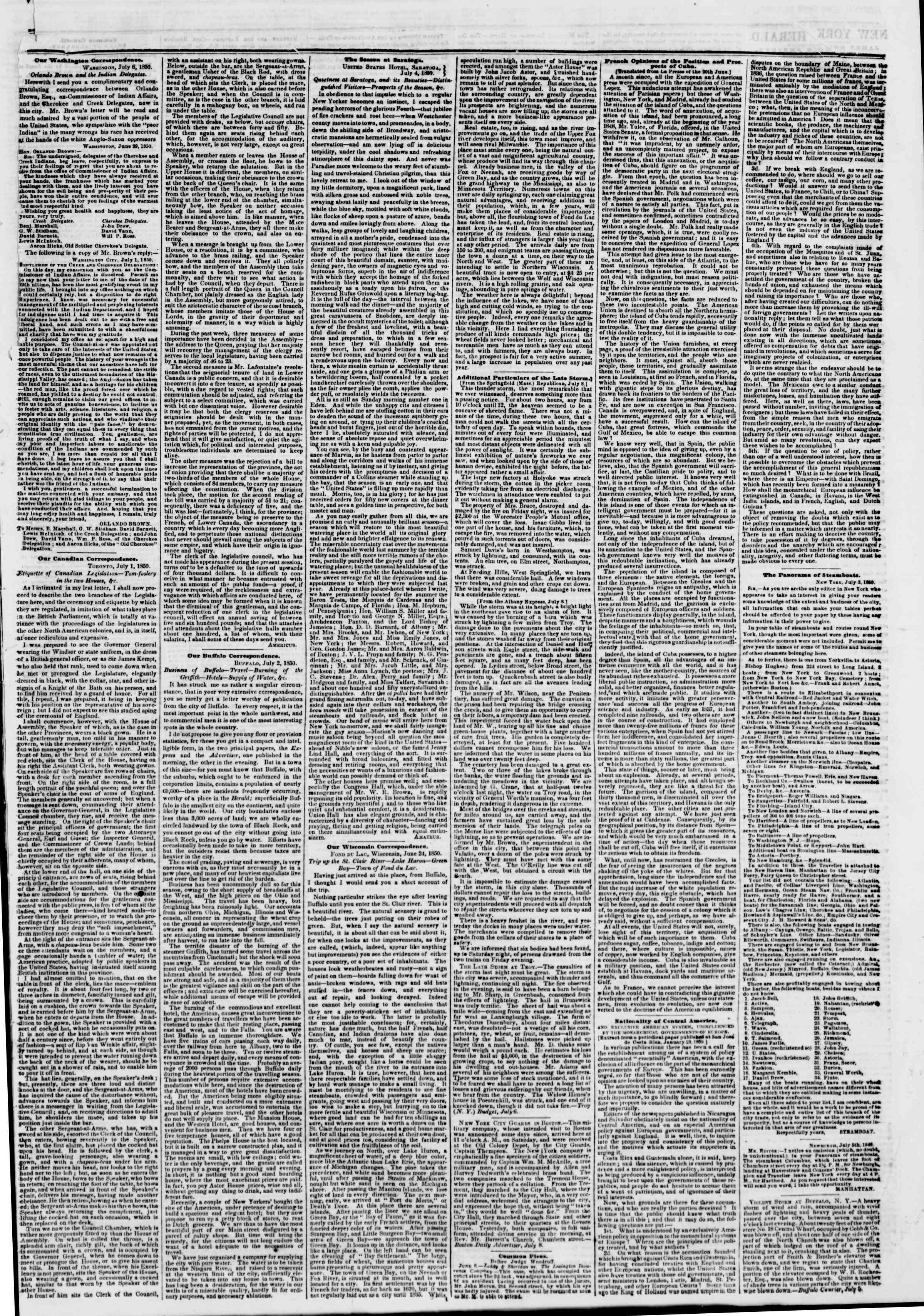 Newspaper of The New York Herald dated July 9, 1850 Page 3