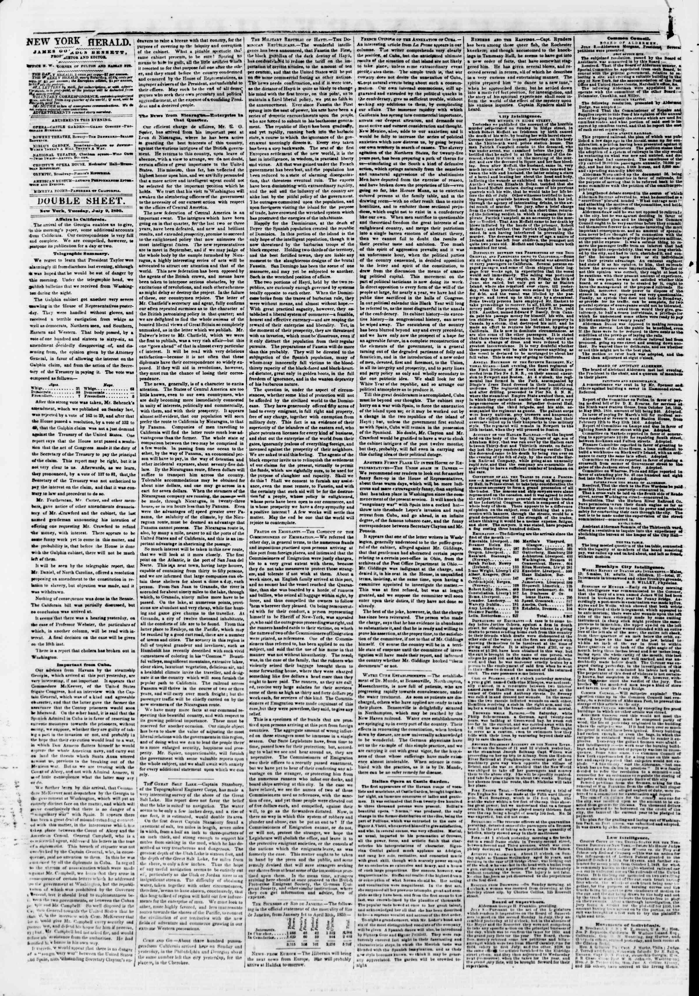 Newspaper of The New York Herald dated July 9, 1850 Page 4